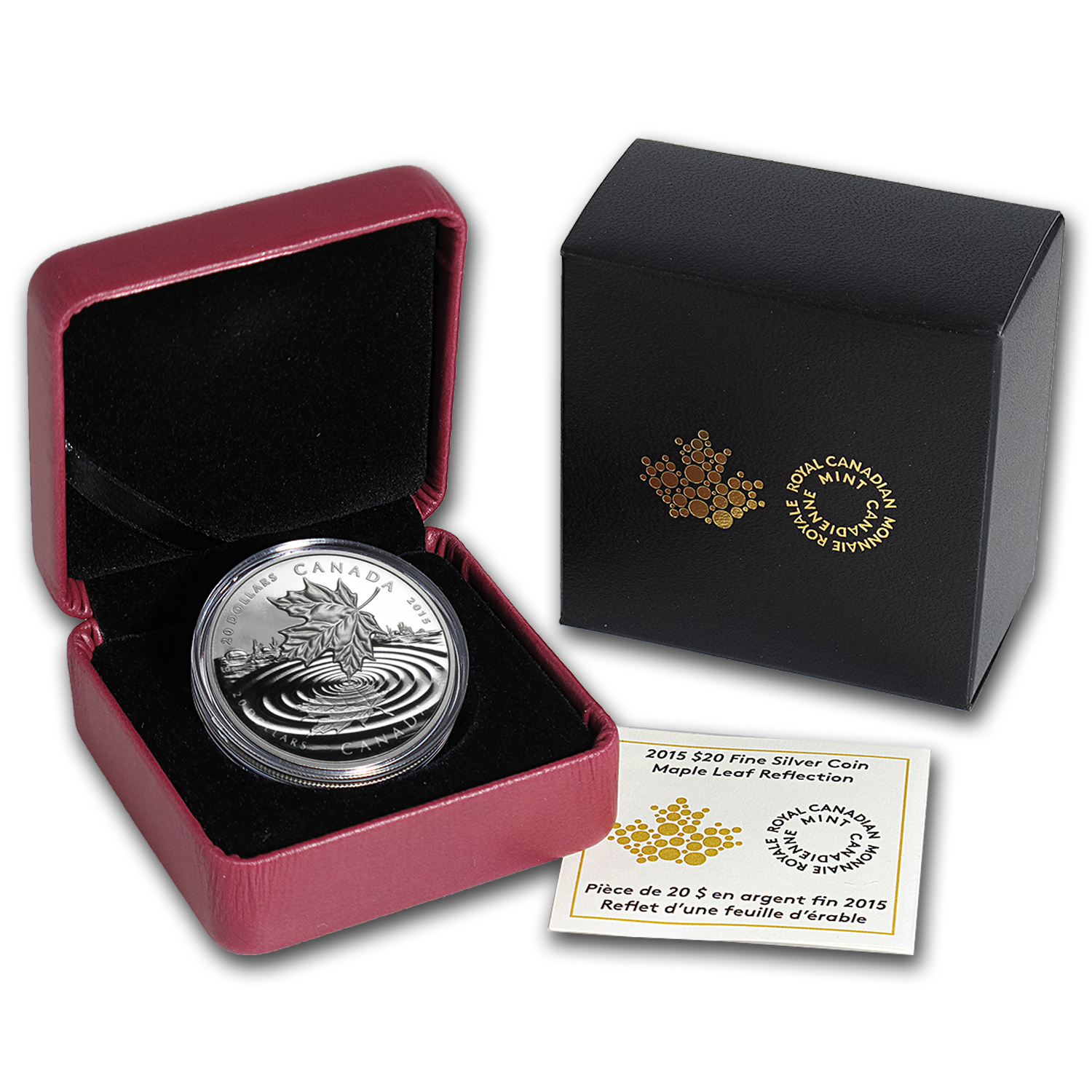2015 Canada 1 oz Silver $20 Proof Maple Leaf Reflection