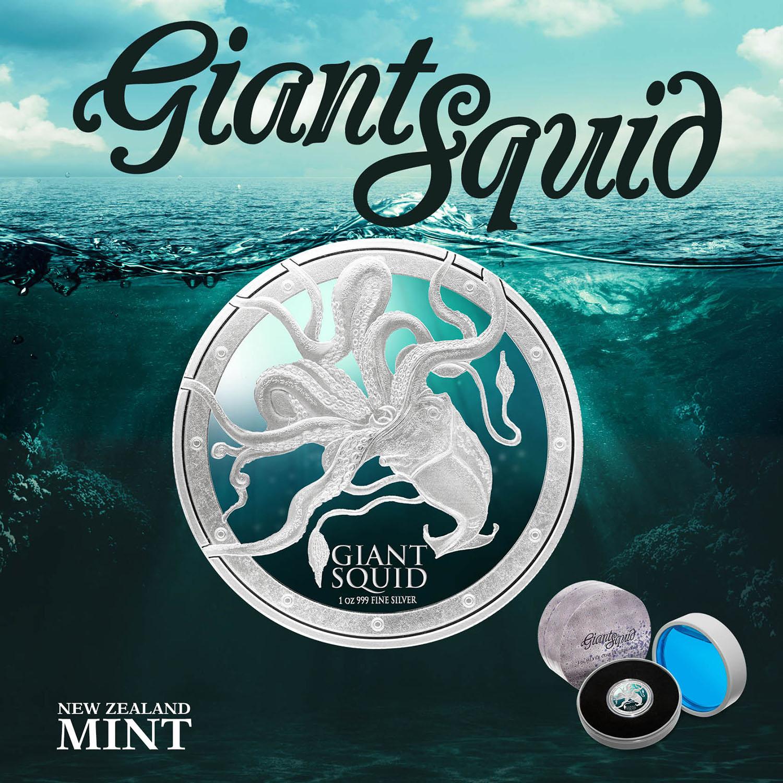 2015 Niue 1 Oz Silver 2 Ocean Predators Giant Squid