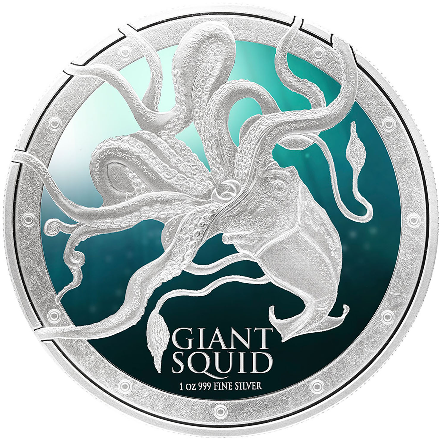 2015 Niue 1 oz Silver $2 Ocean Predators Giant Squid