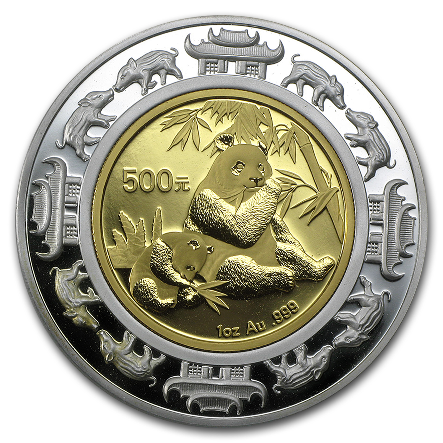 2007 China 1 oz Gold & Silver Panda Prestige Lunar Pig Proof
