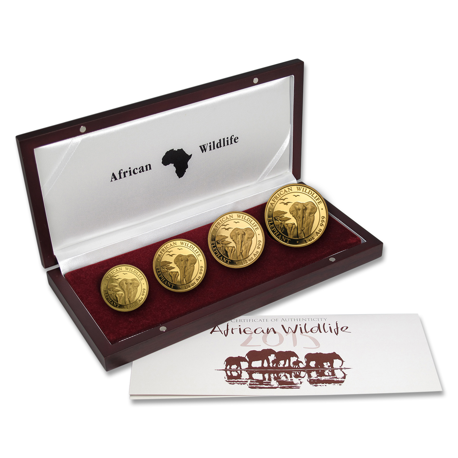 2015 Somalia 4-Coin Gold African Elephant Proof Set
