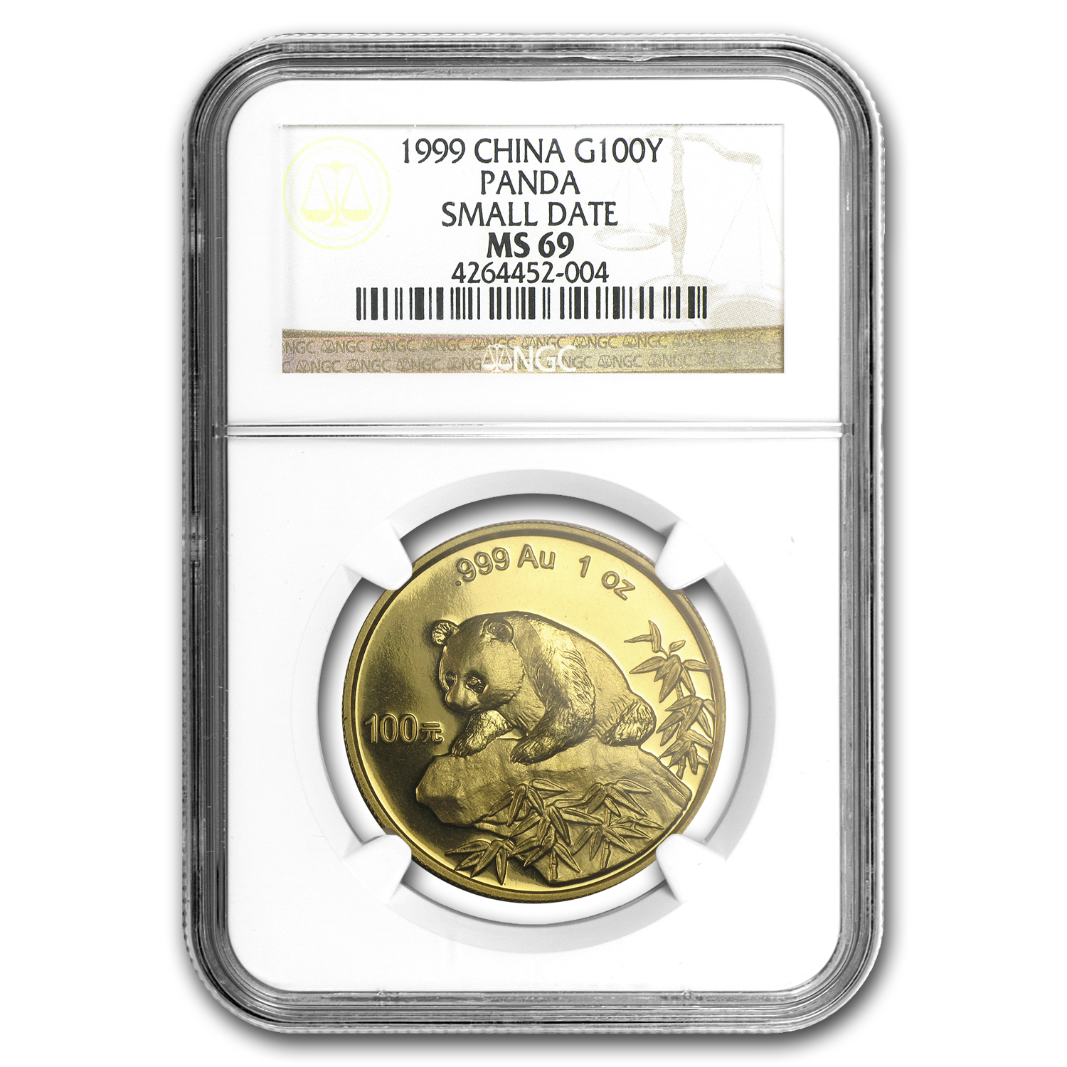 1999 China 1 oz Gold Panda Small Date MS-69 NGC