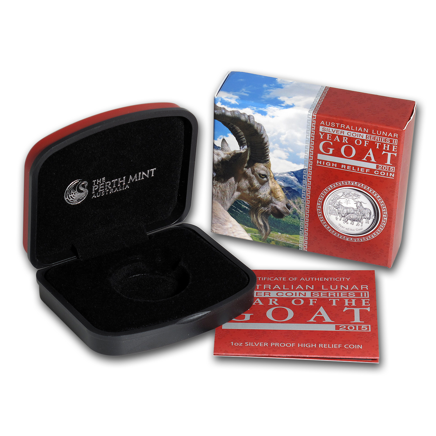 OEM Box & COA - Perth Mint 2015 1 oz Silver Goat HR Proof (SII)