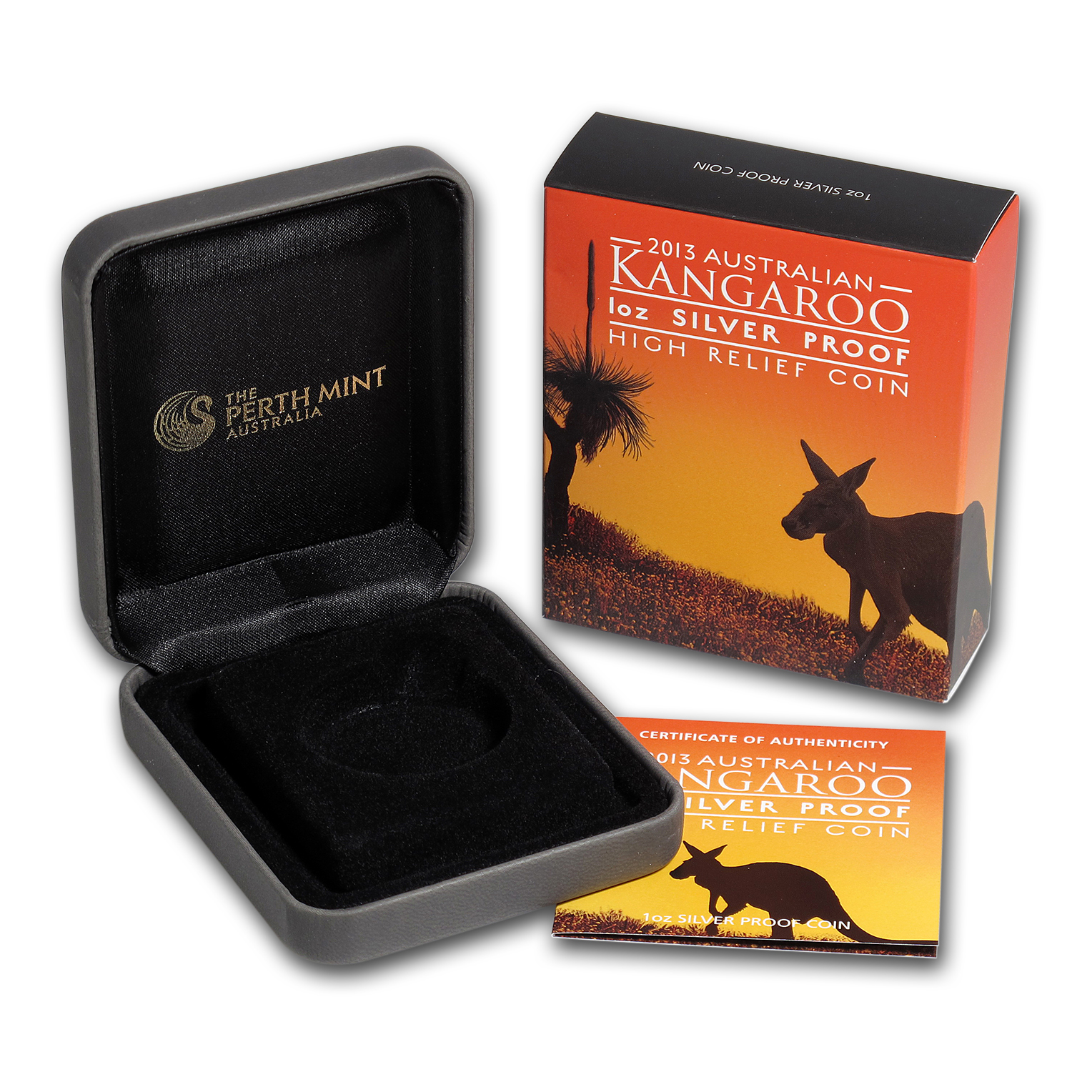 OEM Box & COA - Perth Mint 2013 1 oz Silver Kangaroo HR Proof