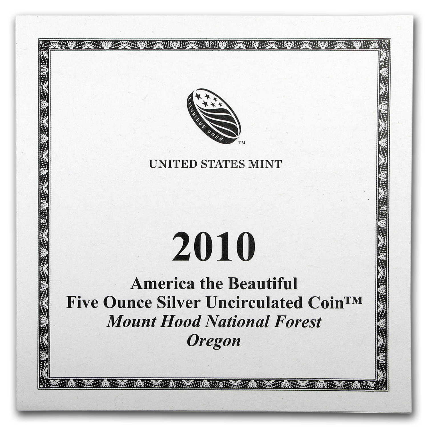 OGP Box & COA - 2010 U.S. Mint 5 oz Silver ATB Coin (Mount Hood)