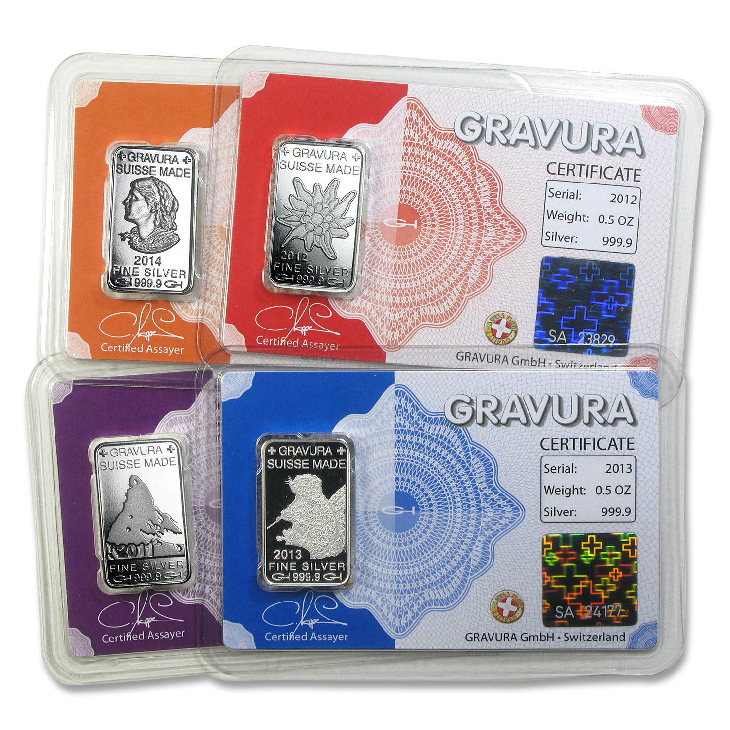 1/2 oz Silver Bar - Gravura Suisse (In Assay, Random Motif)