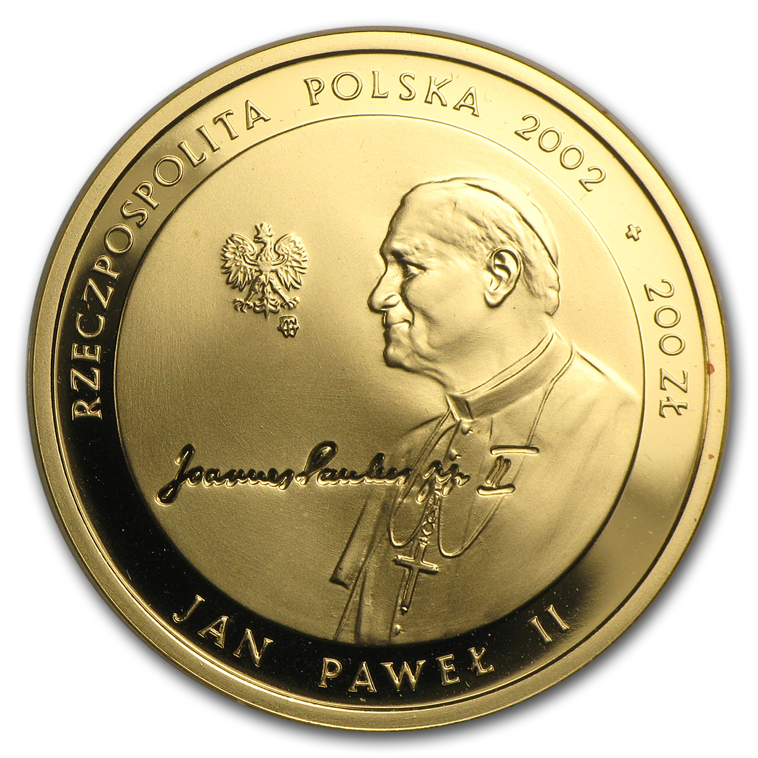 2002 Poland Gold Proof 200 Zlotych Pope John Paul II