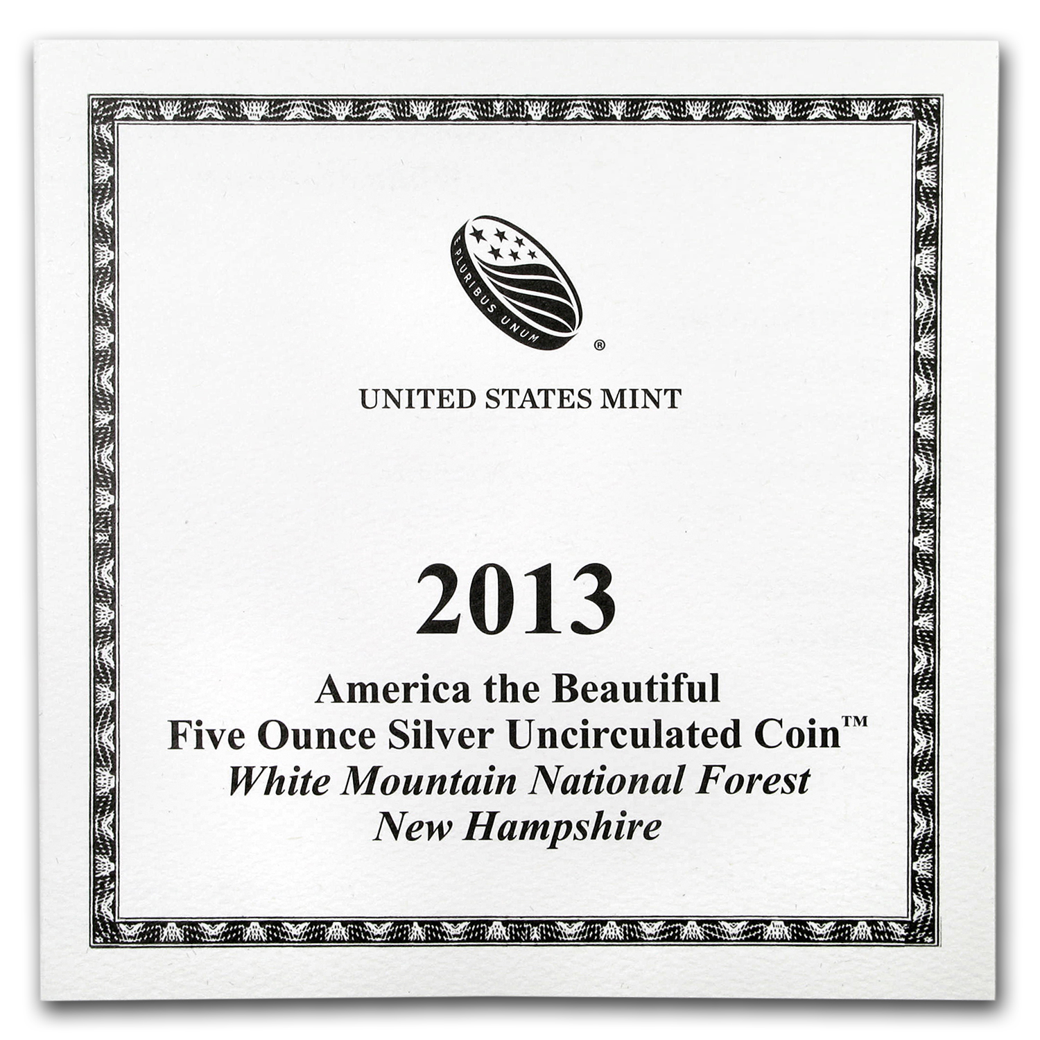 OGP Box & COA - 2013 U.S. Mint 5 oz Silver ATB Coin (White Mtn.)