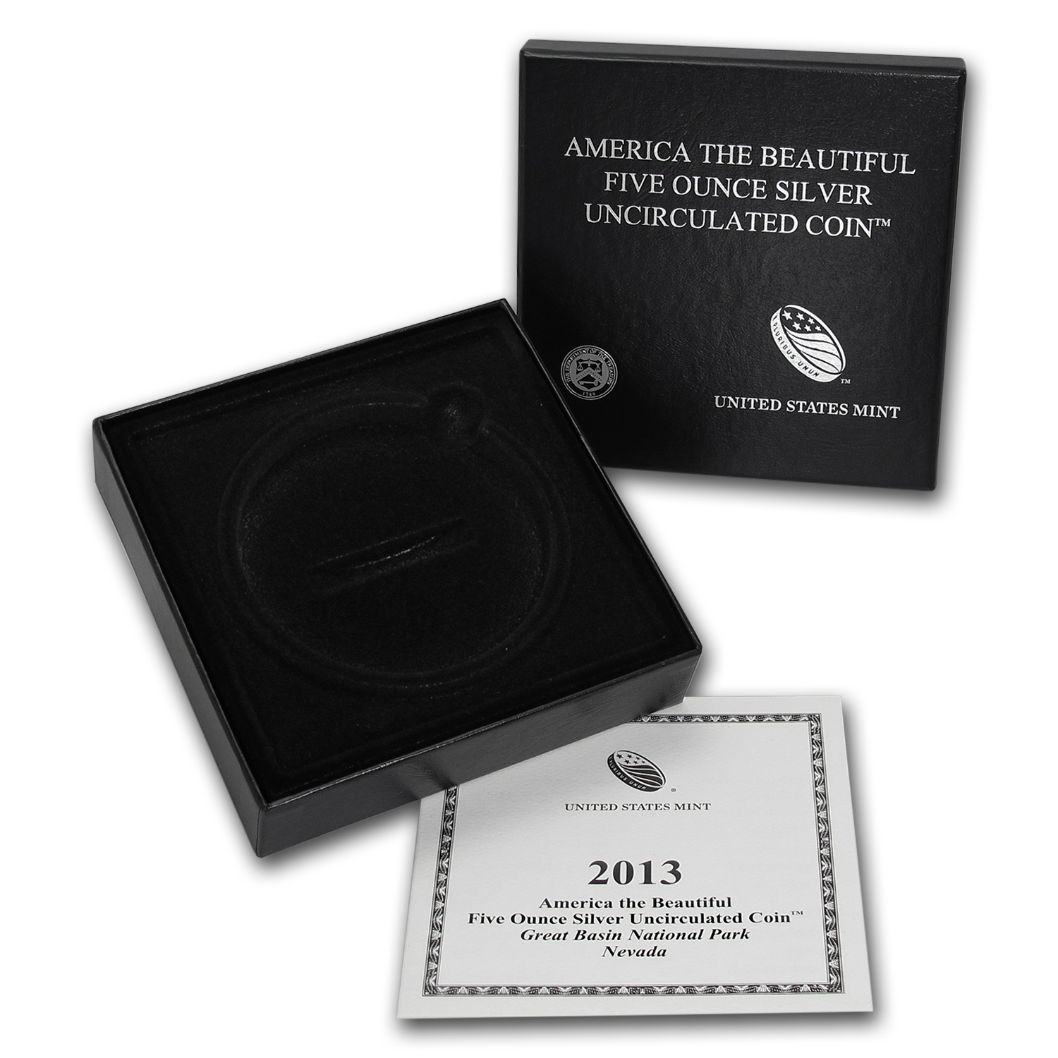 OGP Box & COA - 2013 U.S. Mint 5 oz Silver ATB Coin (Great Basin)