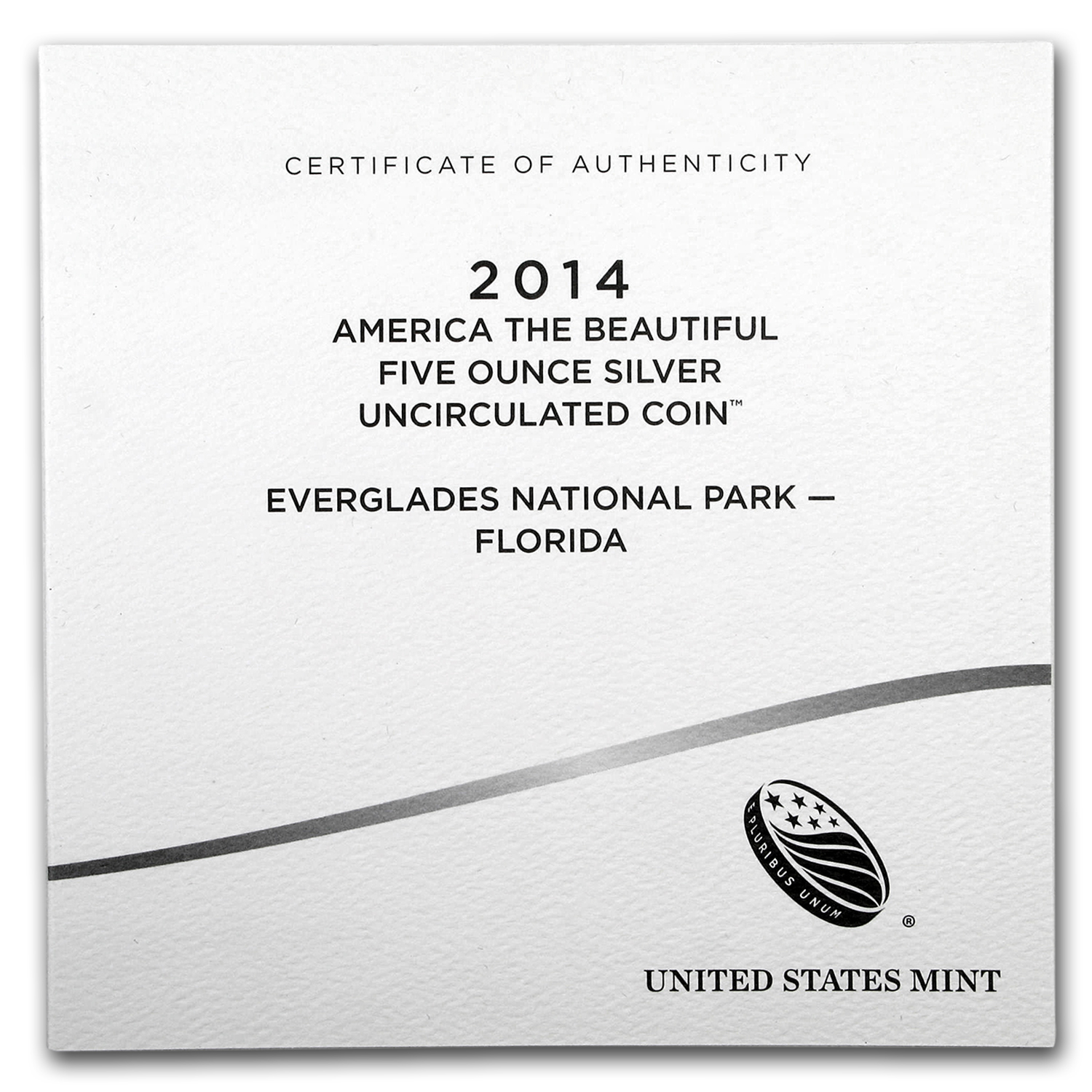 OGP Box & COA - 2014 U.S. Mint 5 oz Silver ATB Coin (Everglades)