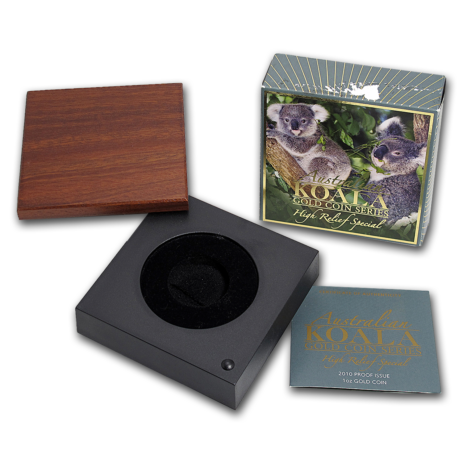 OGP Box & COA - 2010 Perth 1 oz Gold Koala HR Proof Coin