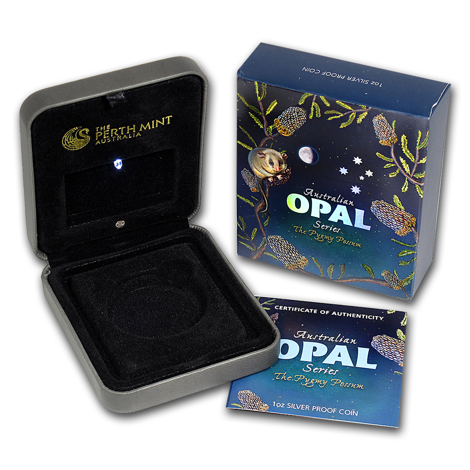 OGP Box & COA - 2013 Perth Pygmy Possum 1 oz Silver Coin (Opal)