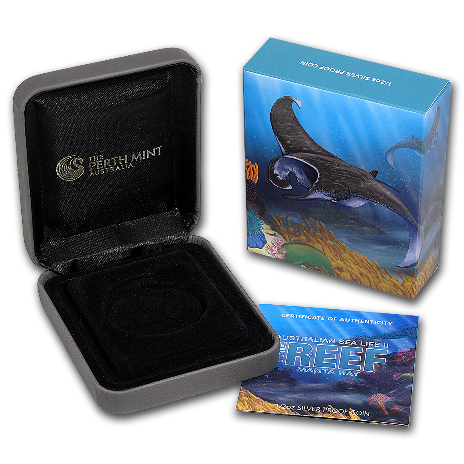 OGP Box & COA - 2012 Perth 1/2 oz Silver Manta-Ray Proof