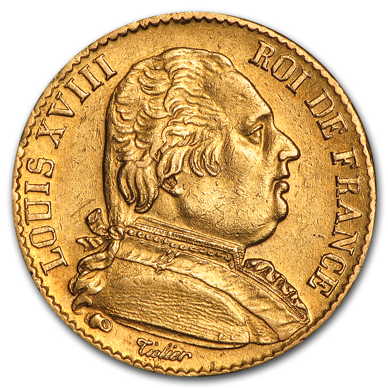1814 1815 France Gold 20 Francs Louis Xviii Au 20 Franc