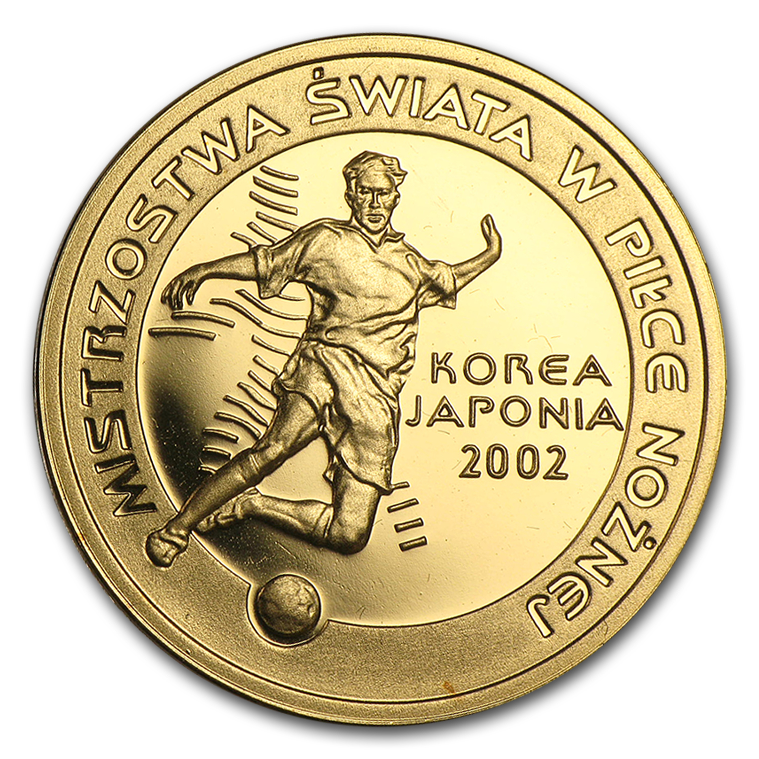 2002 Poland Proof Gold 100 Zlotych World Cup