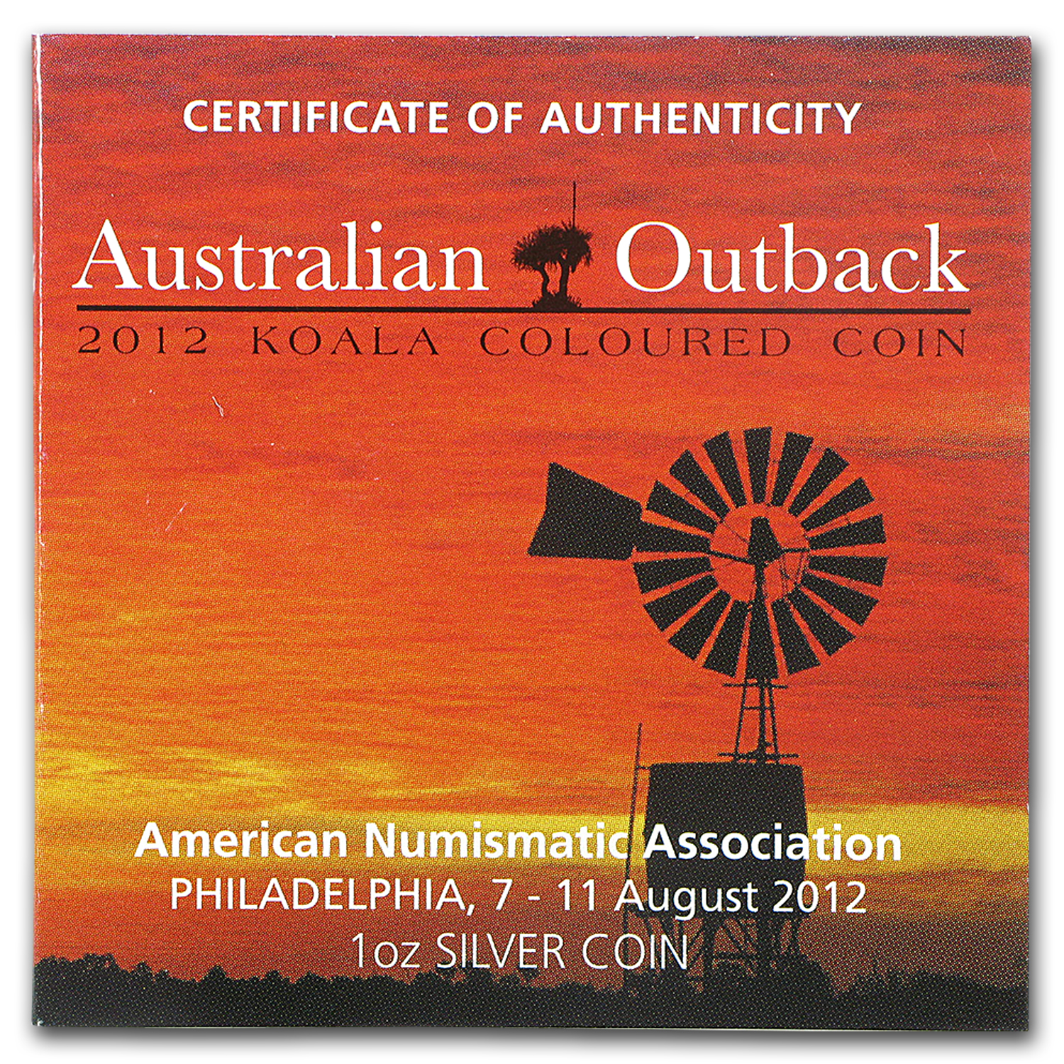 OEM Box & COA - 2012 Perth/ANA Silver Koala 1 oz Colored Coin