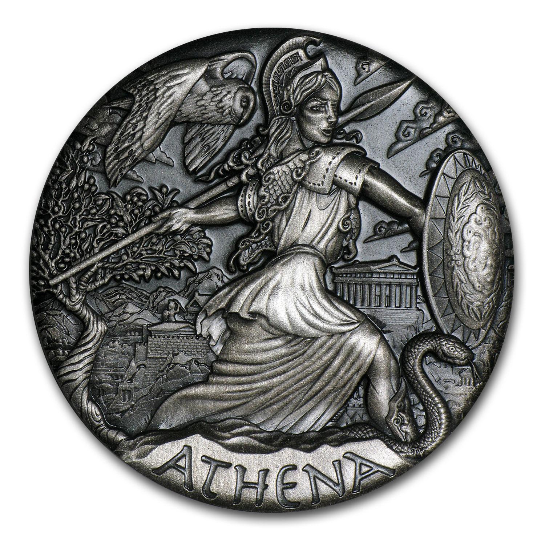 2015 Tuvalu 2 oz Silver Goddesses of Olympus Athena BU (HR)