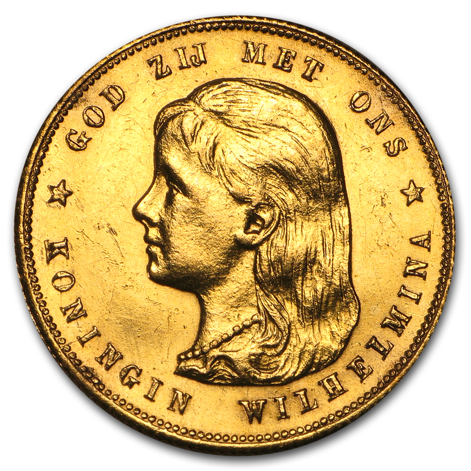 1897 Netherlands Gold 10 Guilder Wilhelmina (Scruffy)