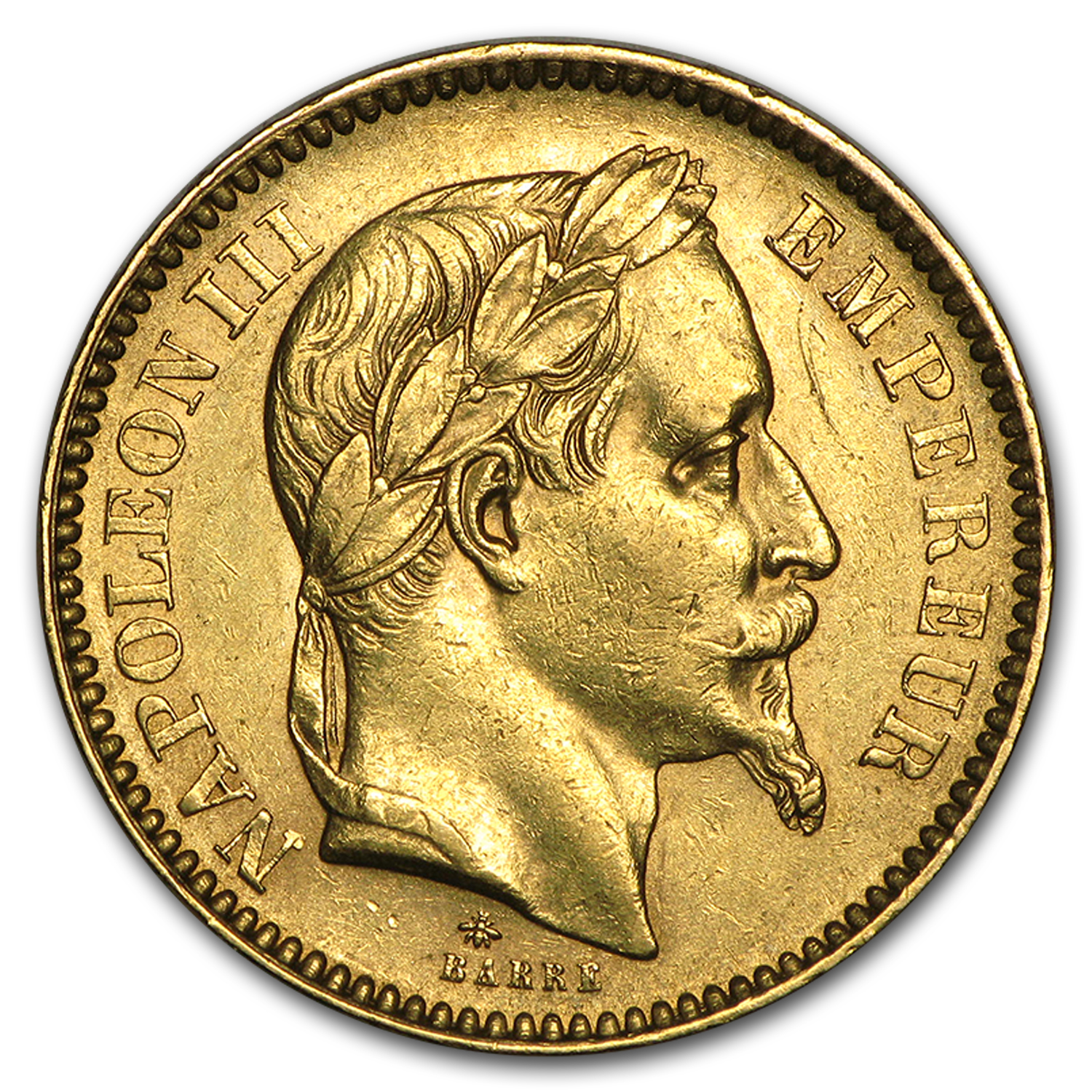 1861-1870 France Gold 20 Francs Napoleon III Laureate Avg Circ
