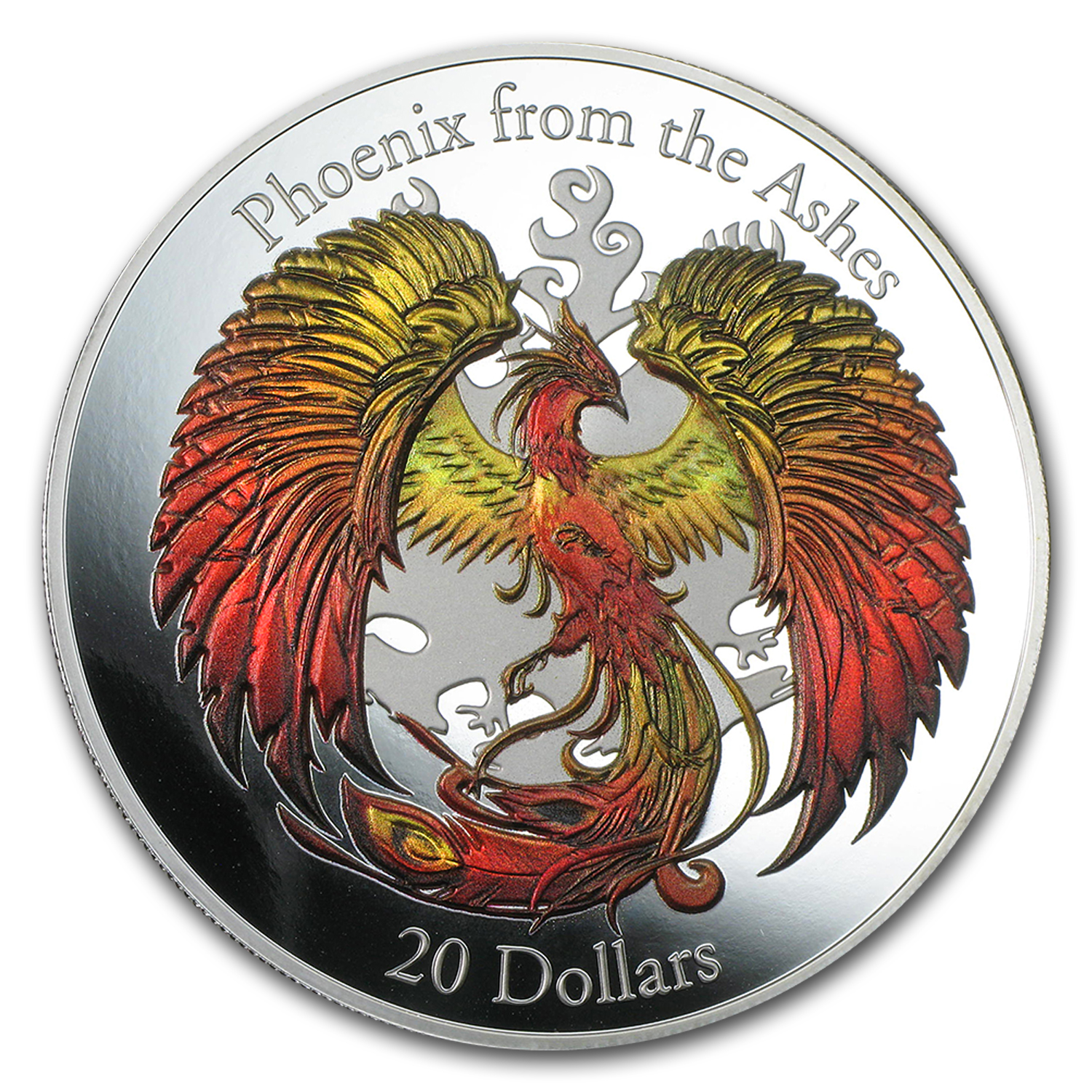 2015 Cook Islands Silver 3D-HR Phoenix from The Ashes