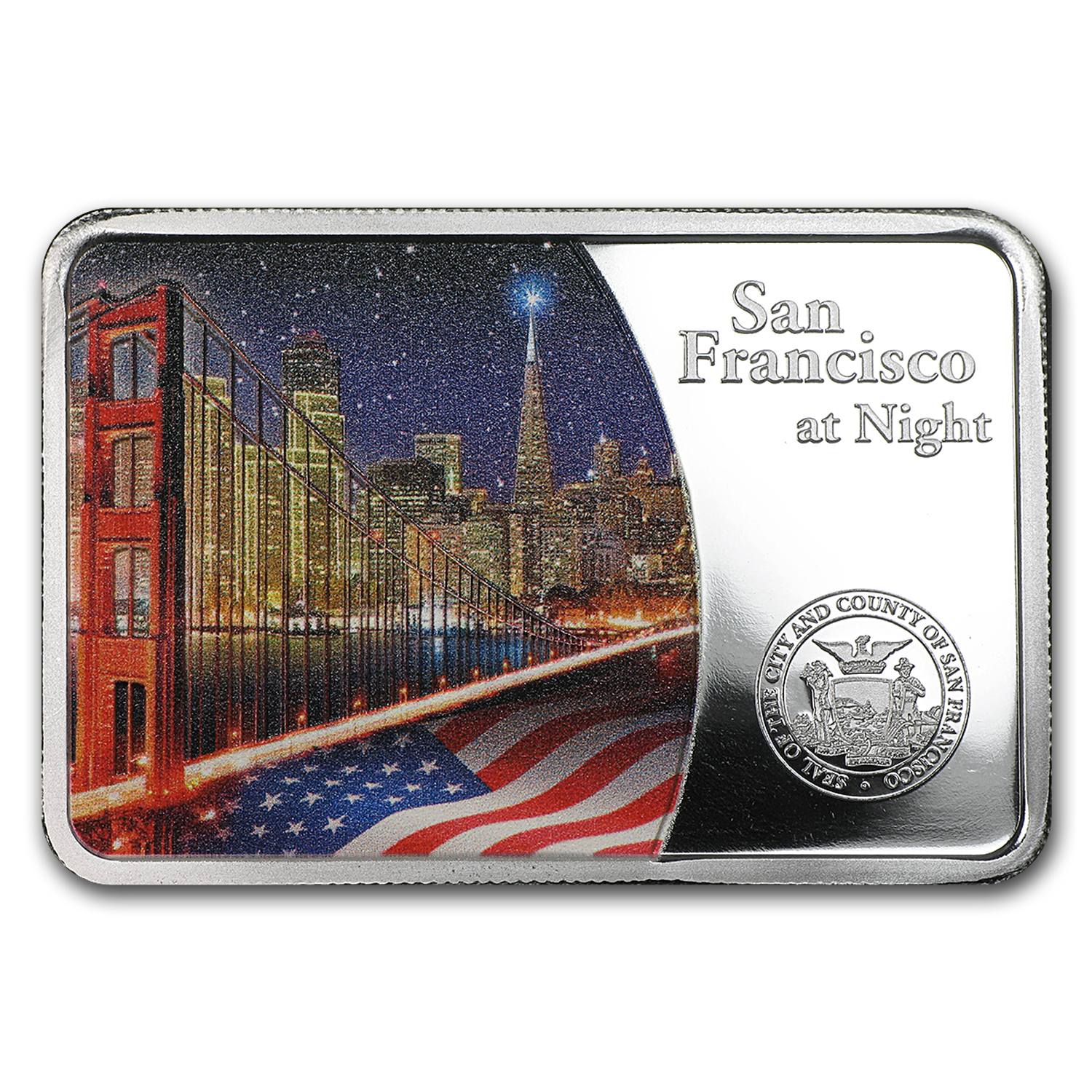 2015 Samoa Silver San Francisco at Night Coin Bar Proof