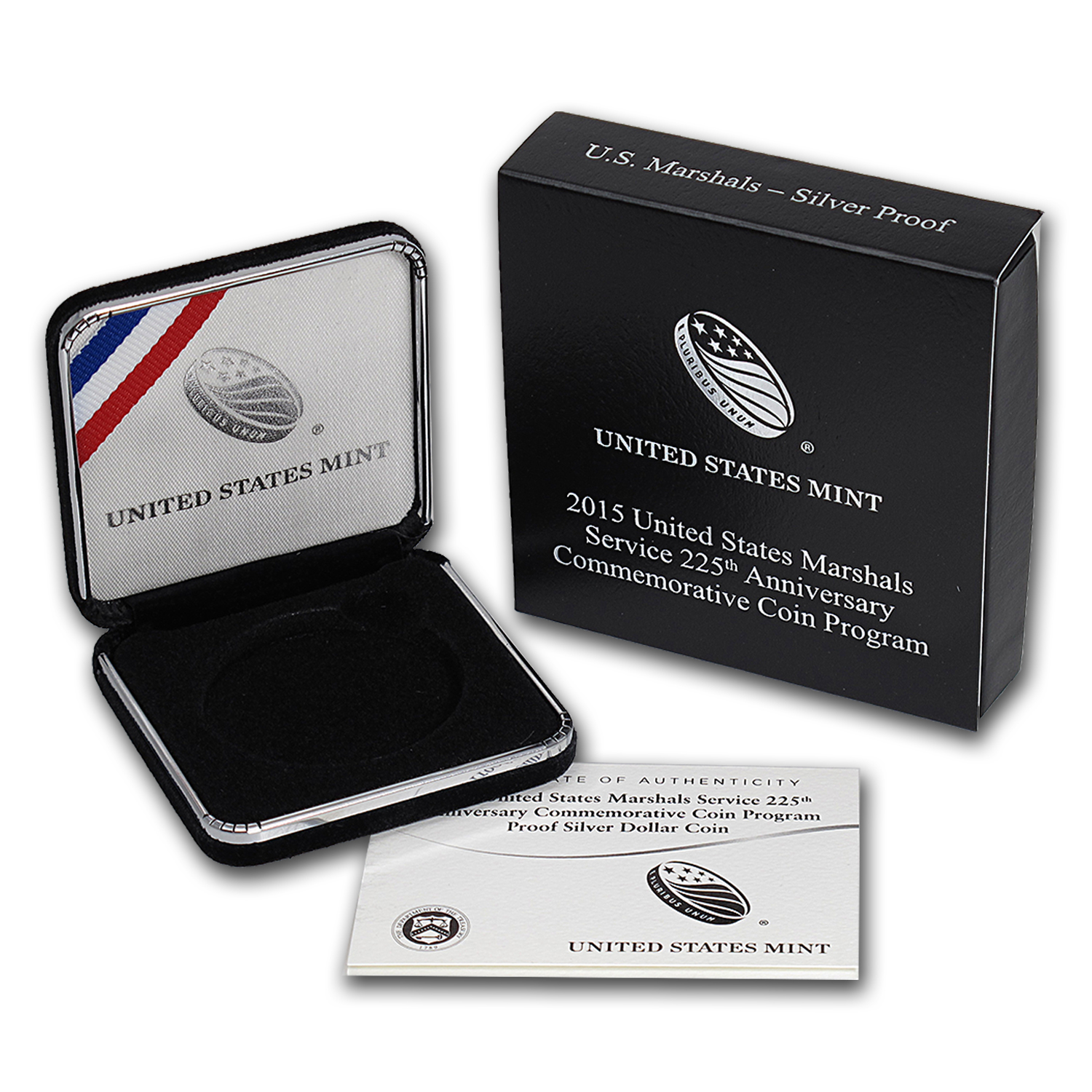 OEM Box & COA - 2015 U.S. Mint U.S. Marshalls Silver Proof Coin