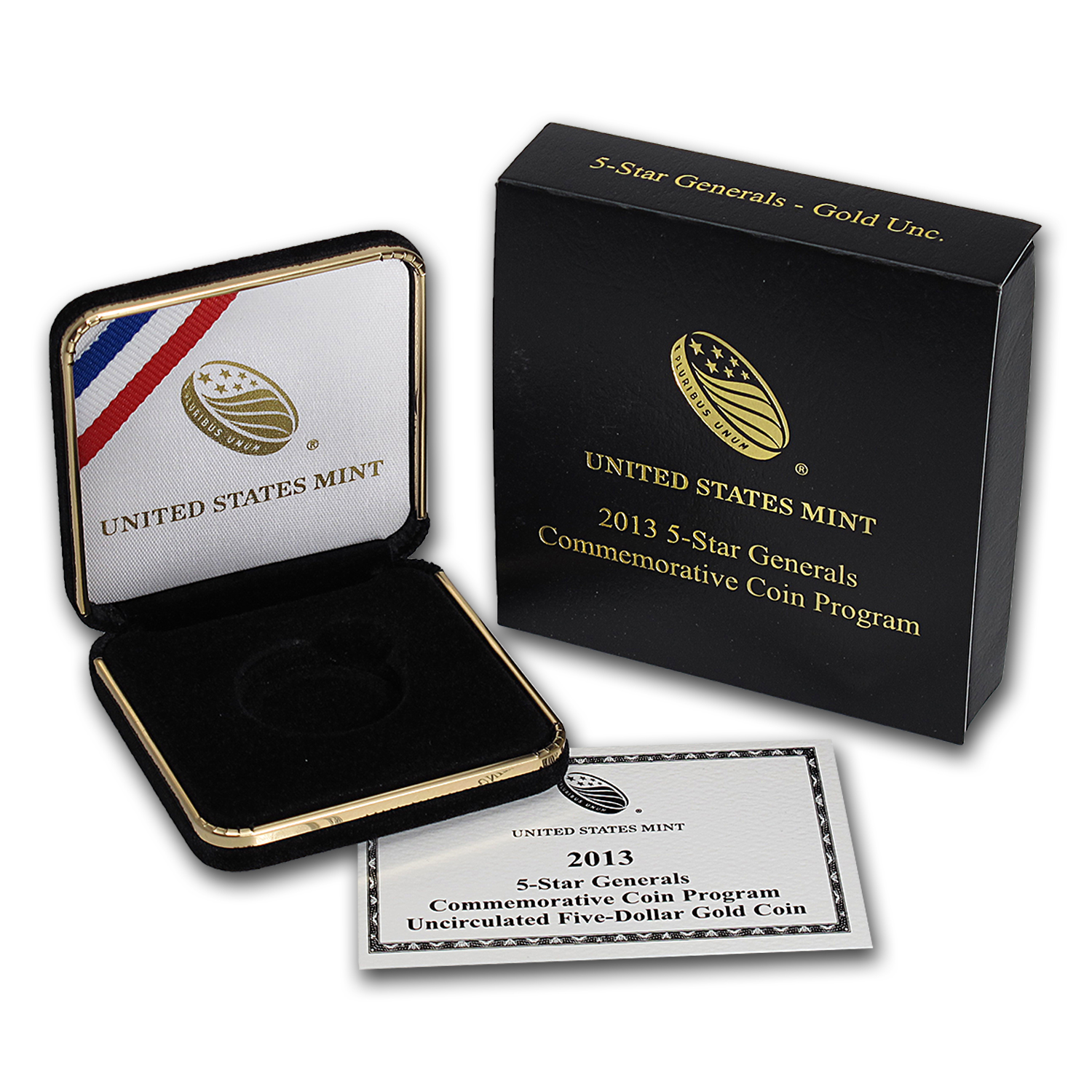 OGP Box & COA - 2013 U.S. Mint 5 Star General $5 Gold Unc. Coin