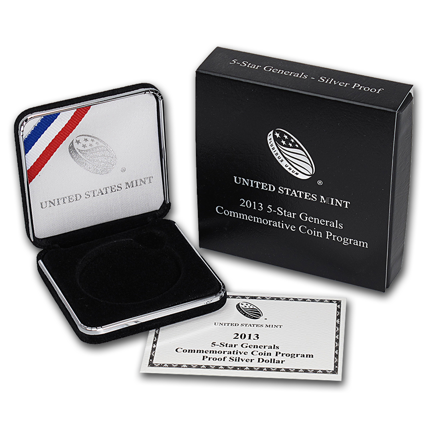 OEM Box & COA - 2013 U.S. Mint 5 Star General Silver Proof Coin