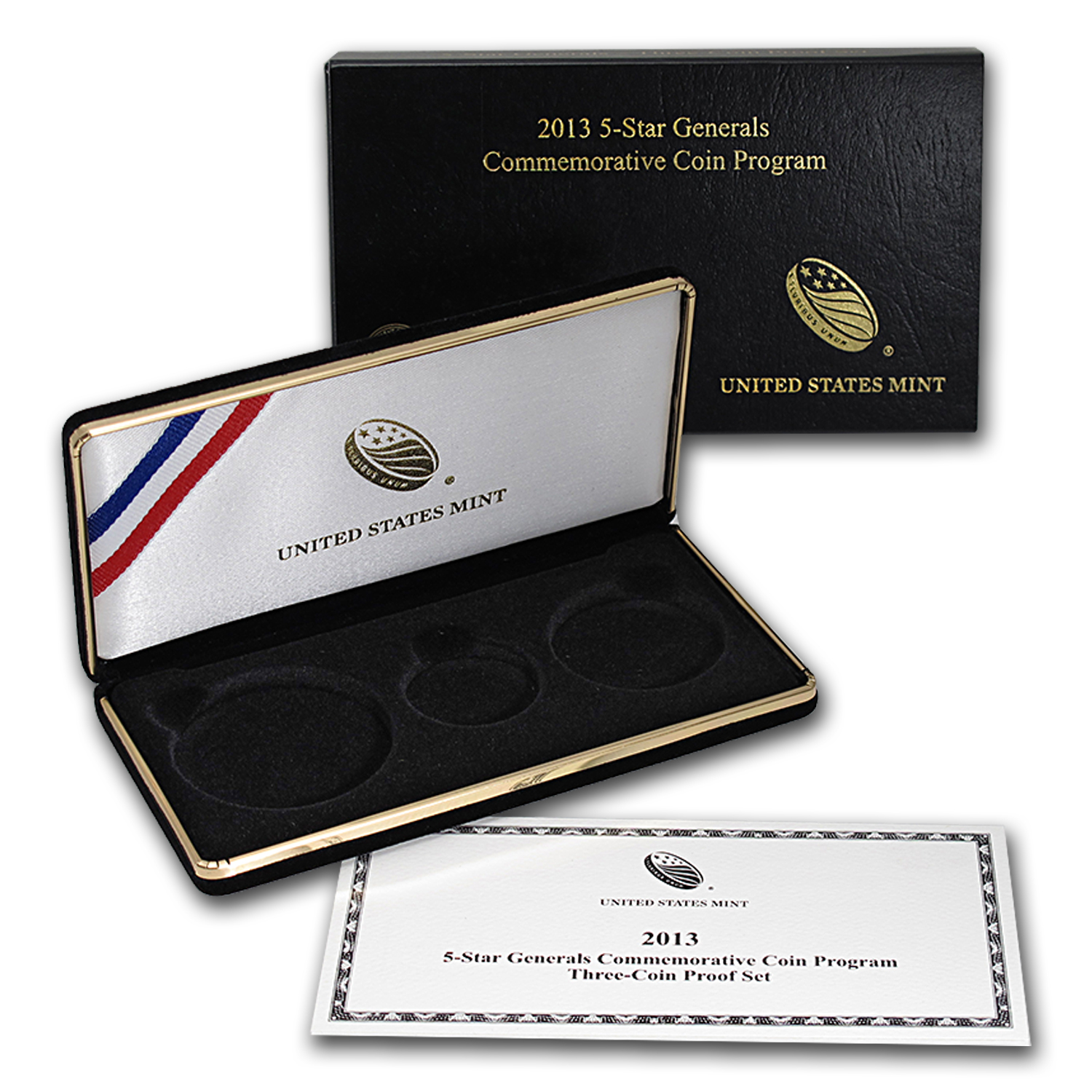 OEM Box & COA - 2013 U.S. Mint 5 Star General Gold 3 Coin PF Set