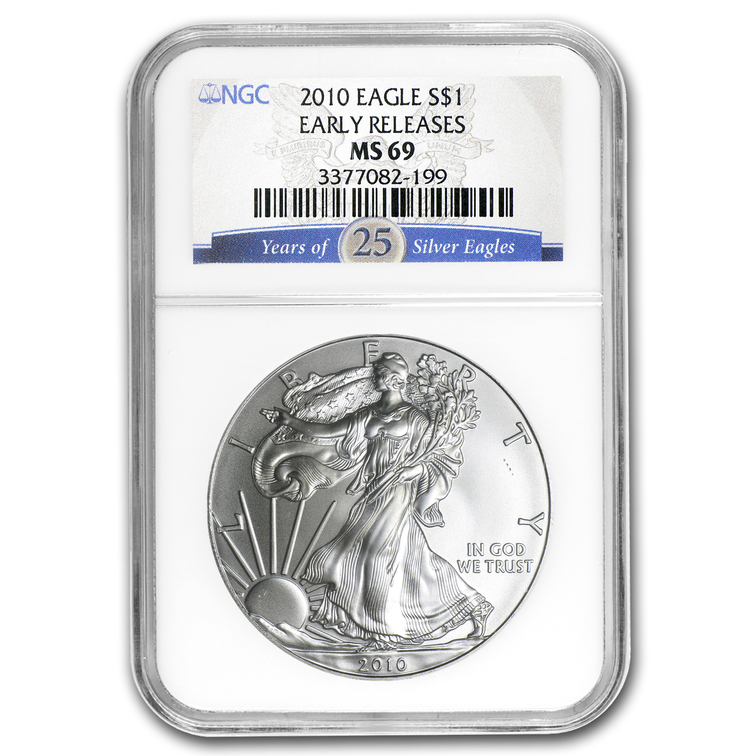 2010 Silver American Eagle MS-69 NGC (25th Ann, Blue Label, ER)