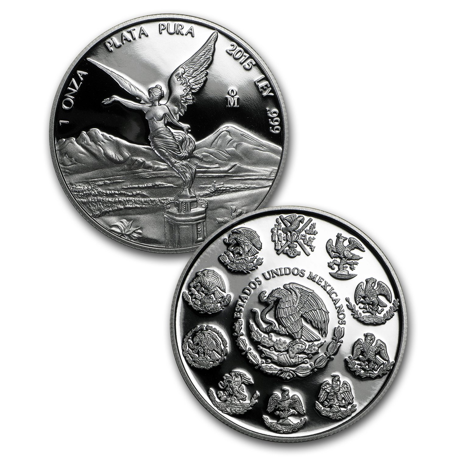 2015 Mexico 2-Coin Silver Libertad Proof/Reverse Proof Set