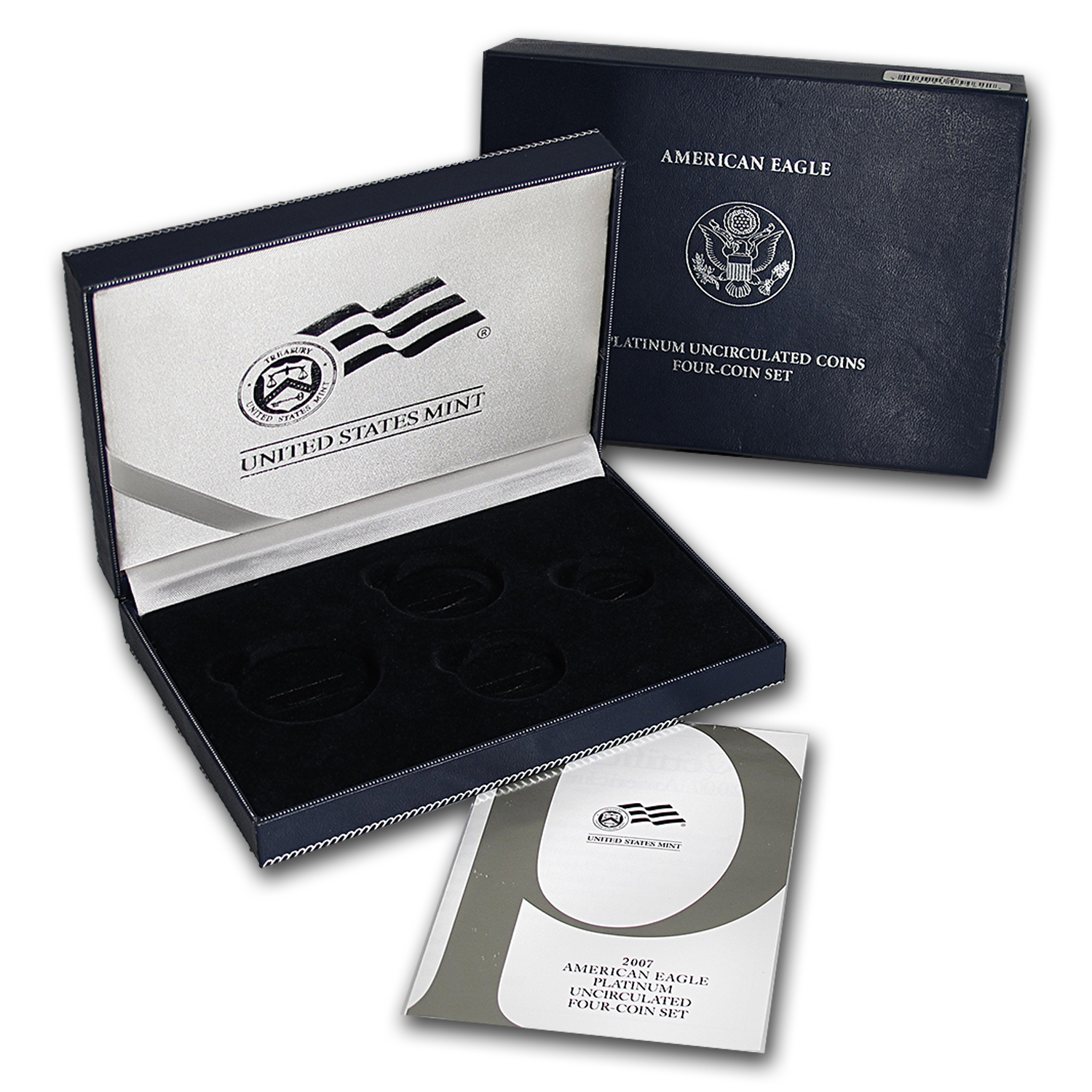 U.S. Mint Box - 2007 4-Coin Burnished Platinum Eagle Set