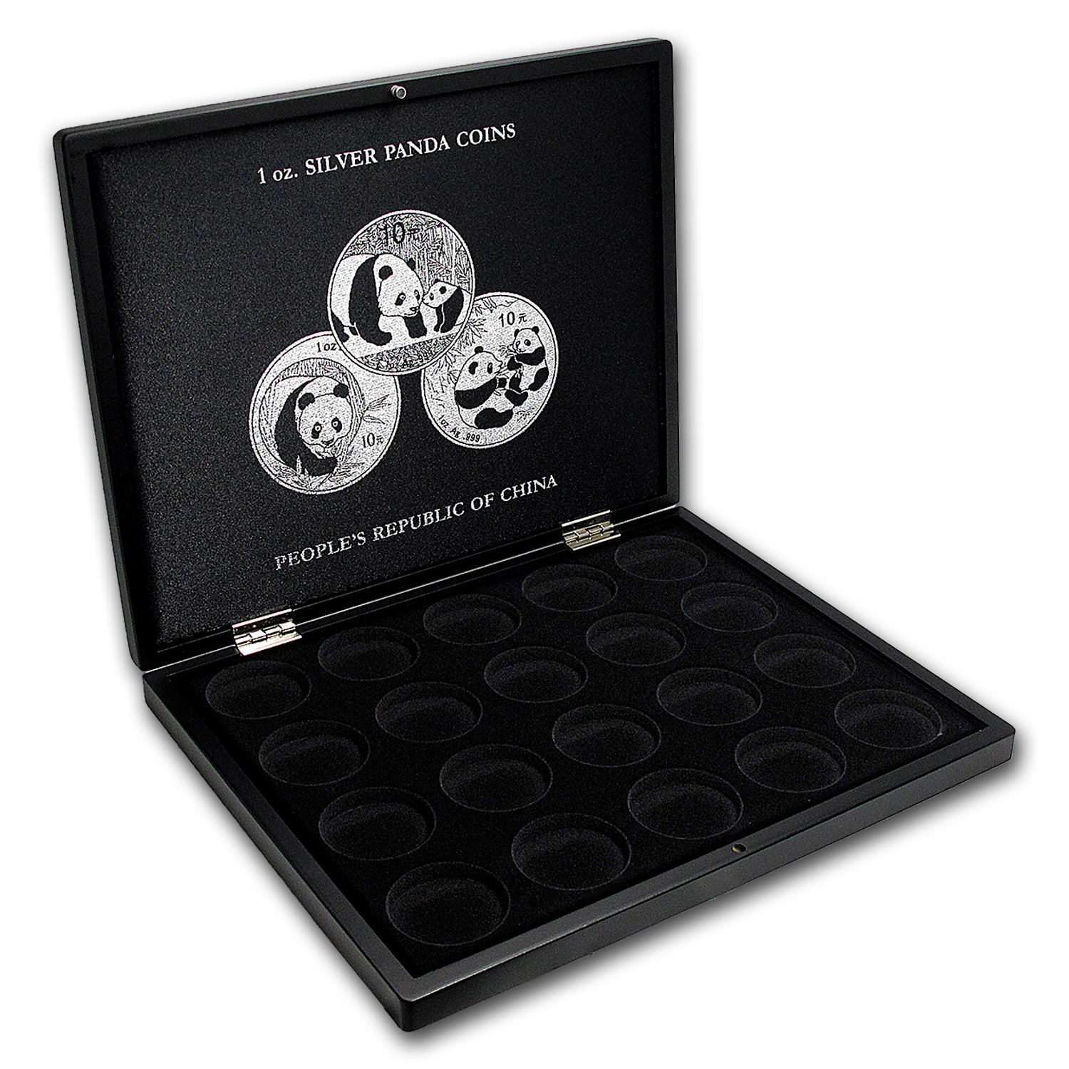 1 oz Chinese Silver Panda 20-Piece Black Presentation Box