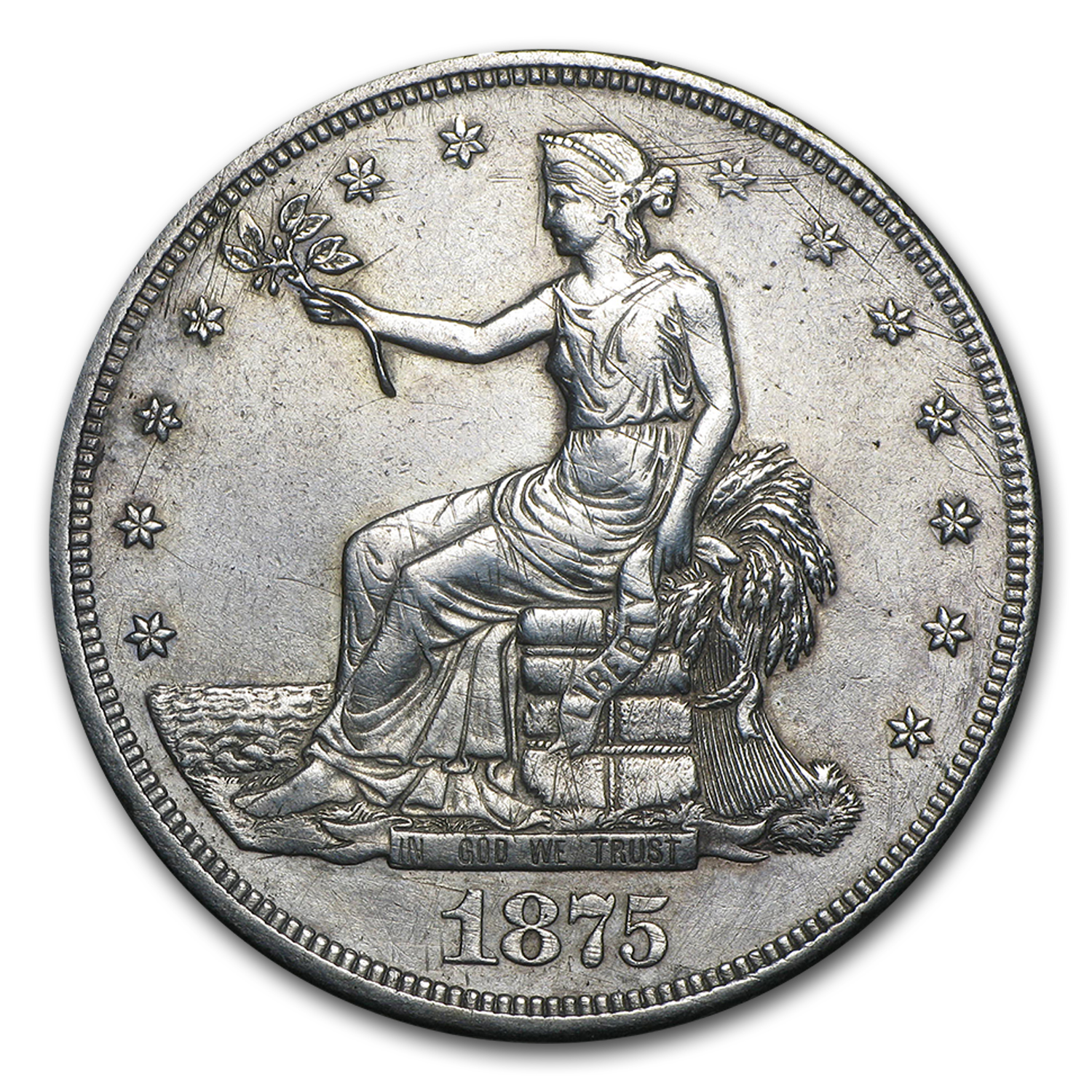 1875 Cc Trade Dollar Au Details Cleaned Trade Dollars