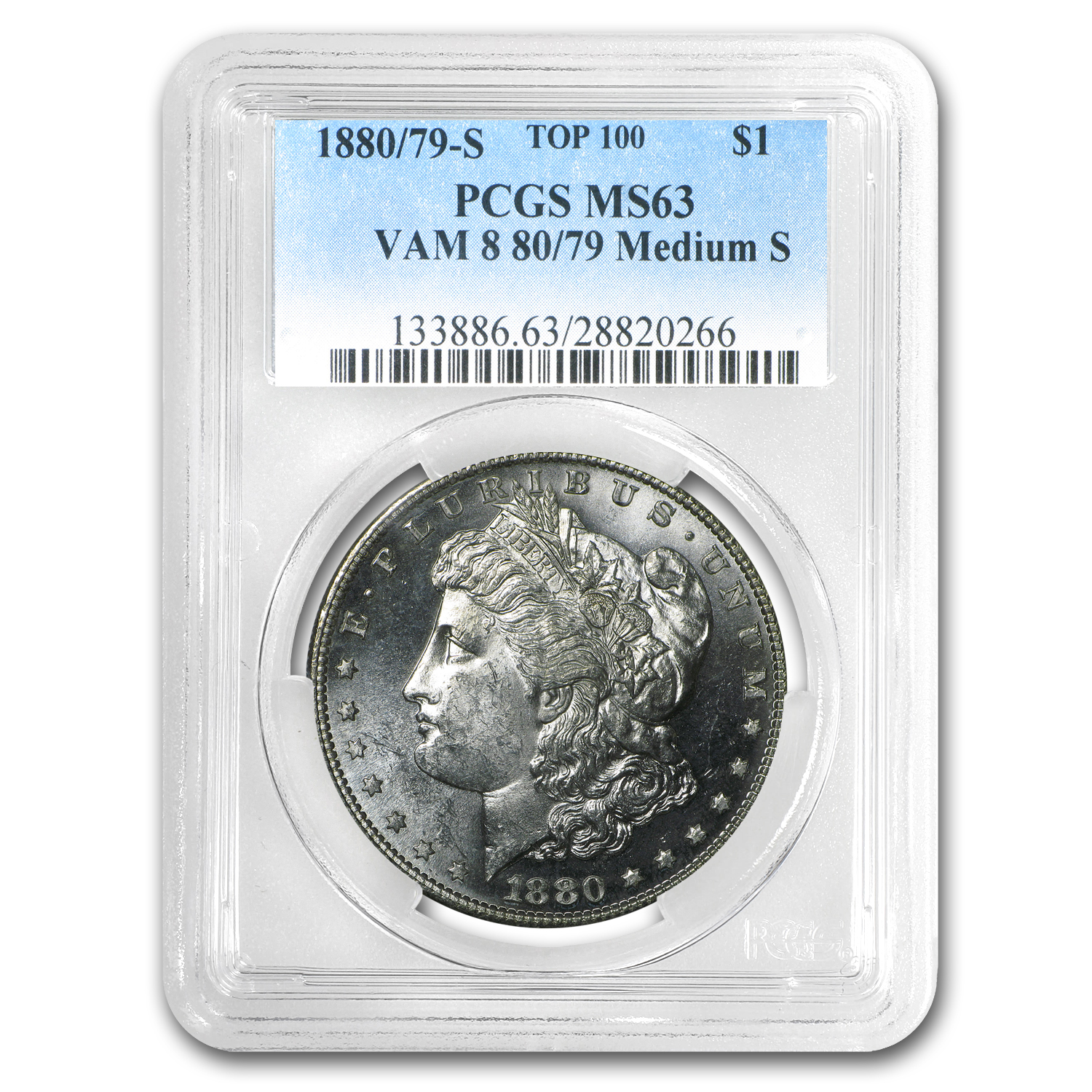 1880/79-S Morgan Dollar MS-63 PCGS (VAM-8, 80/79 Overdate)