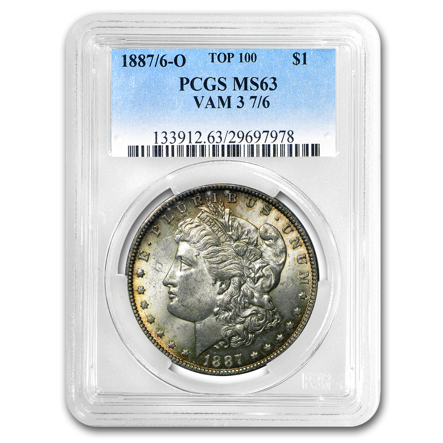 1887/6-O Morgan Dollar MS-63 PCGS (VAM-3, Overdate, Top-100)