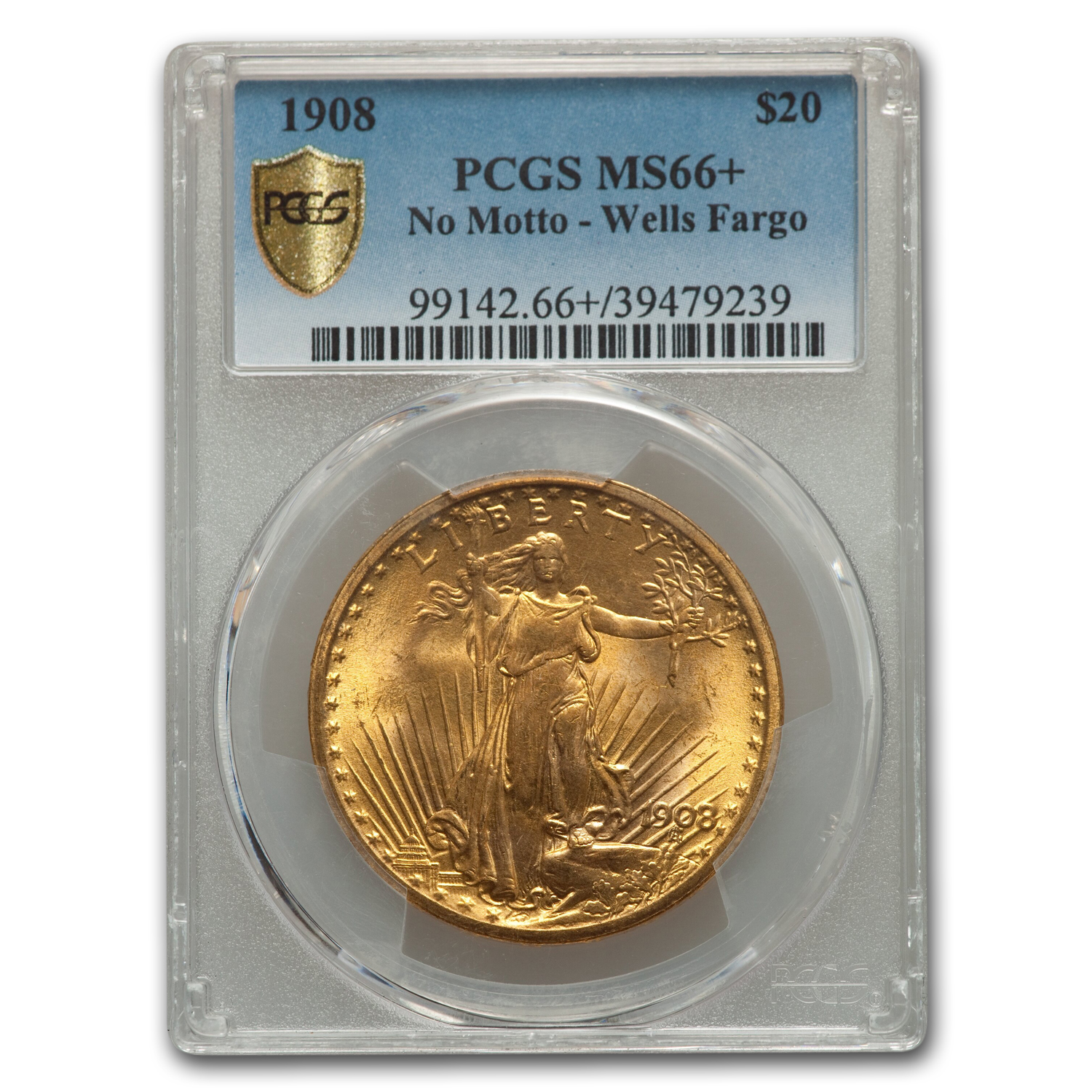 1908 $20 St. Gaudens Gold No Motto MS-66+ PCGS (Wells Fargo)