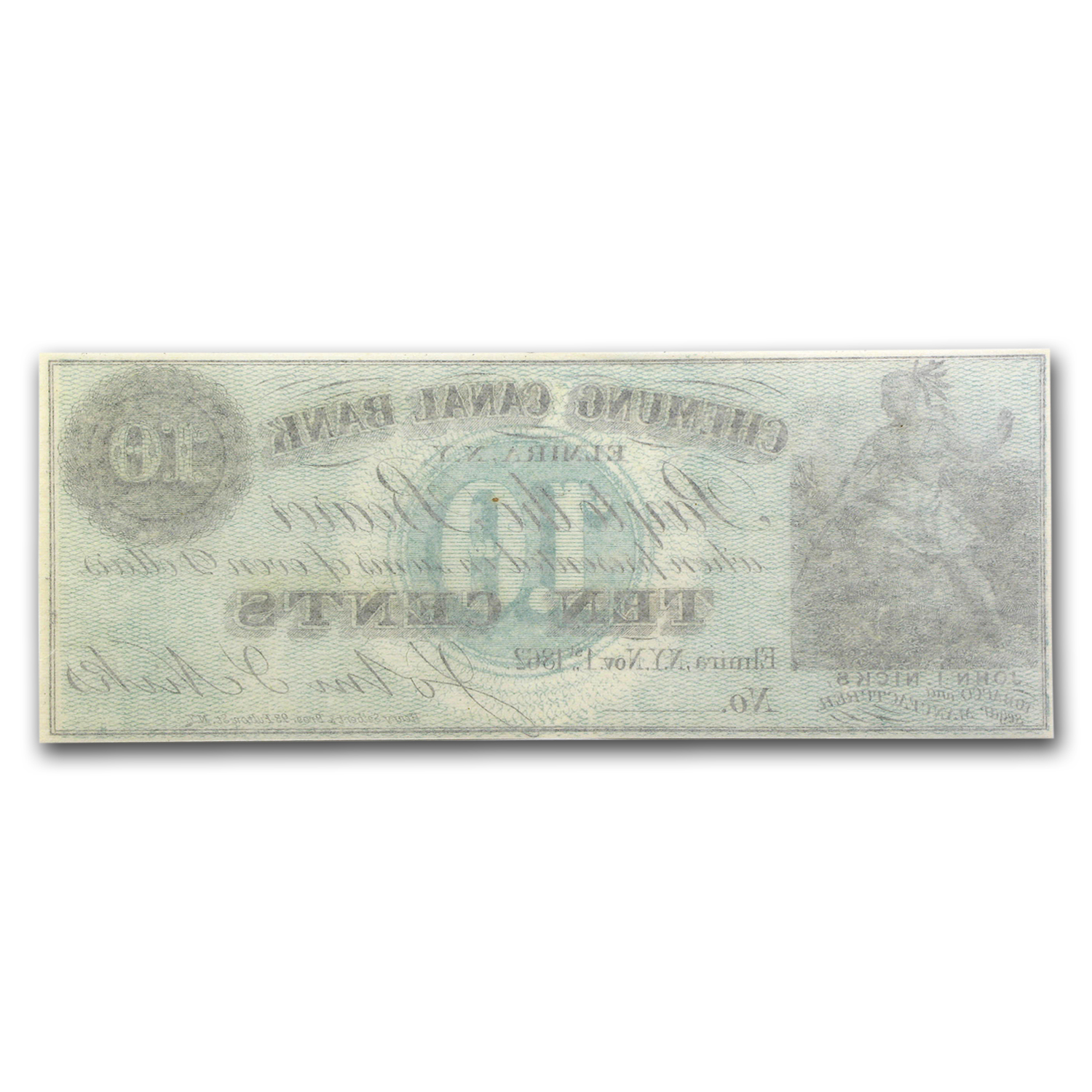1862 Scrip of John Nicks, Elmira, NY 10 Cents CU