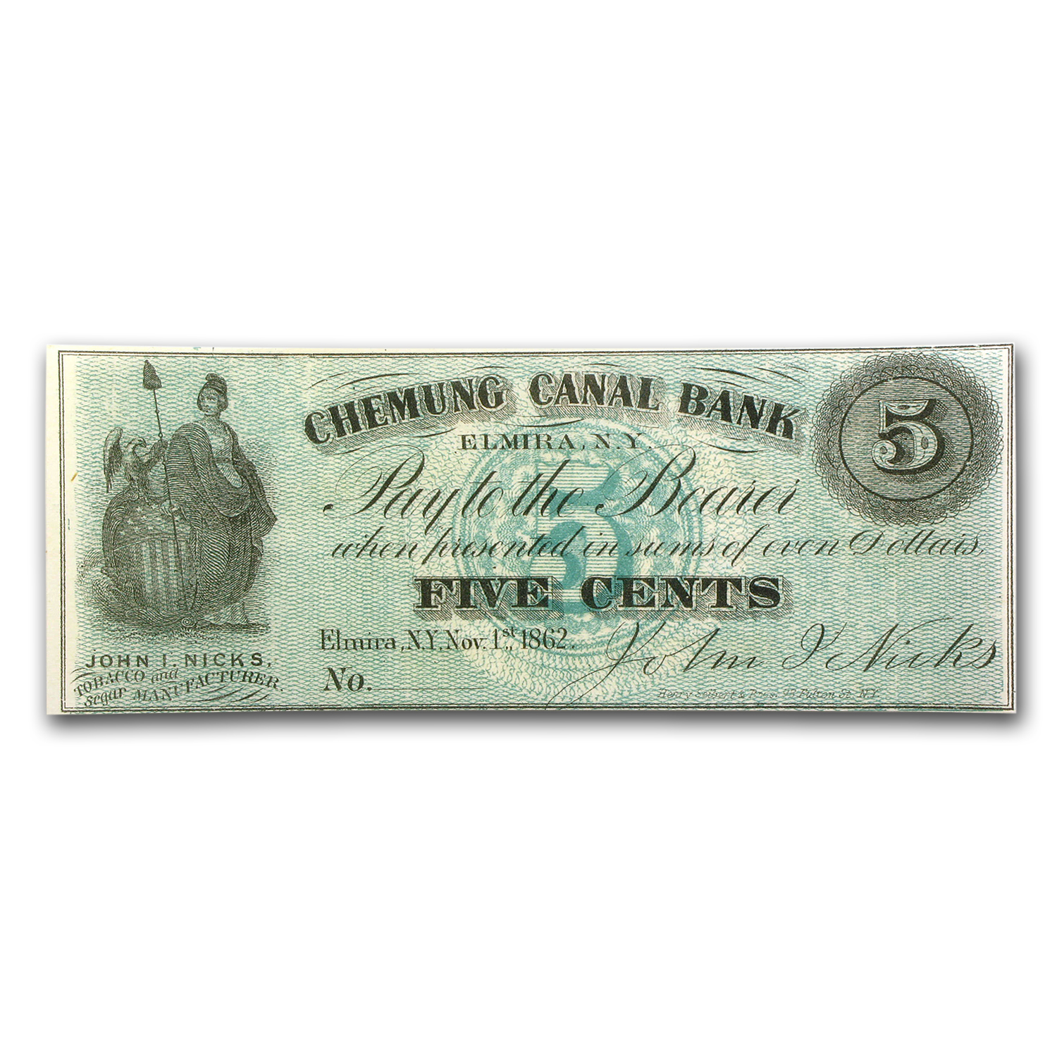1862 Scrip of John Nicks, Elmira, NY 5 Cents CU