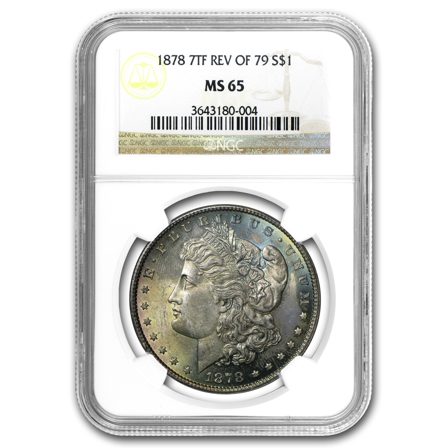 1878 Morgan Dollar 7 TF Rev of 79 MS-65 NGC (Toned)