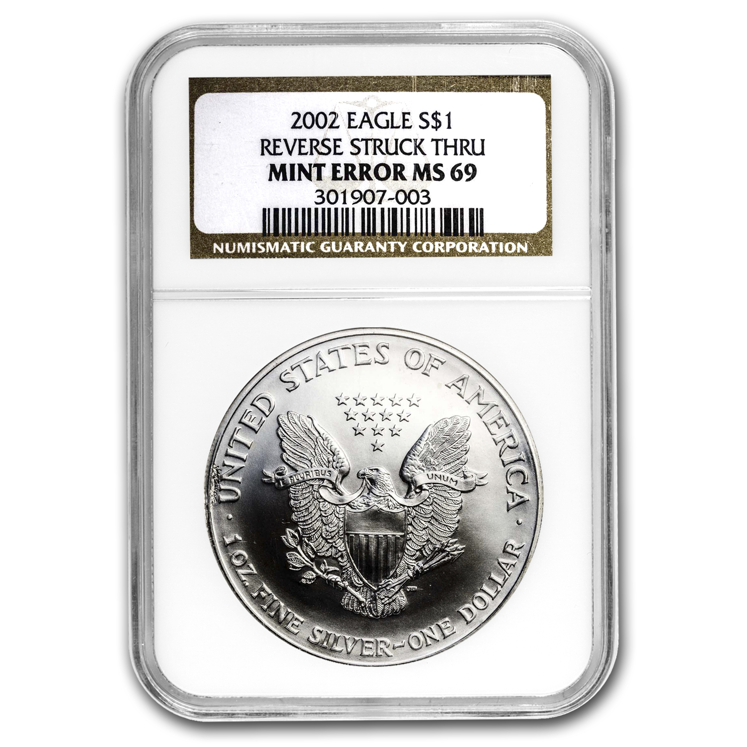 2002 Silver American Eagle MS-69 NGC Mint Error (Rev Struck Thru)
