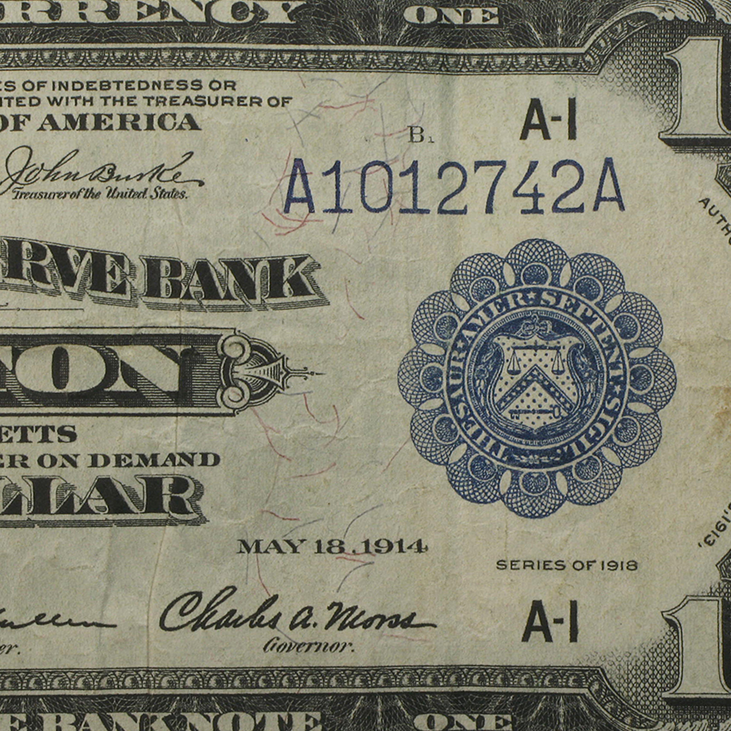 1918 (A-Boston) $1.00 FRBN VF+