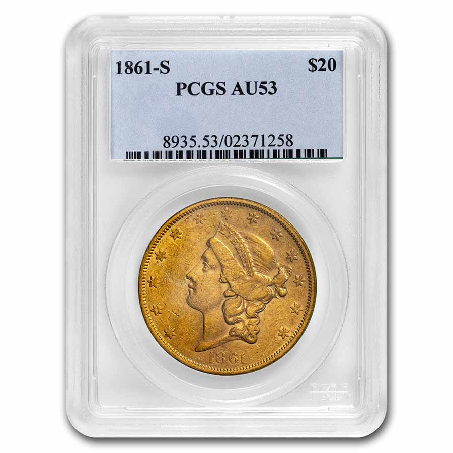 1861-S $20 Liberty Gold Double Eagle AU-53 PCGS