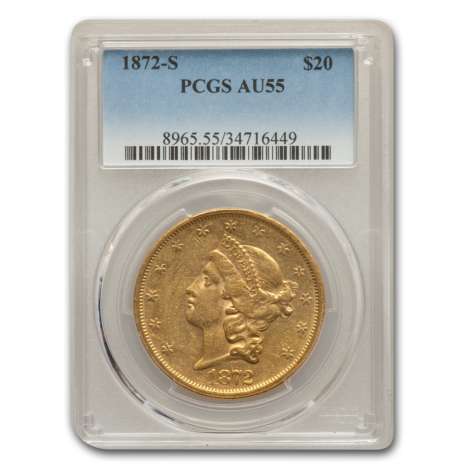 1872-S $20 Liberty Gold Double Eagle AU-55 PCGS