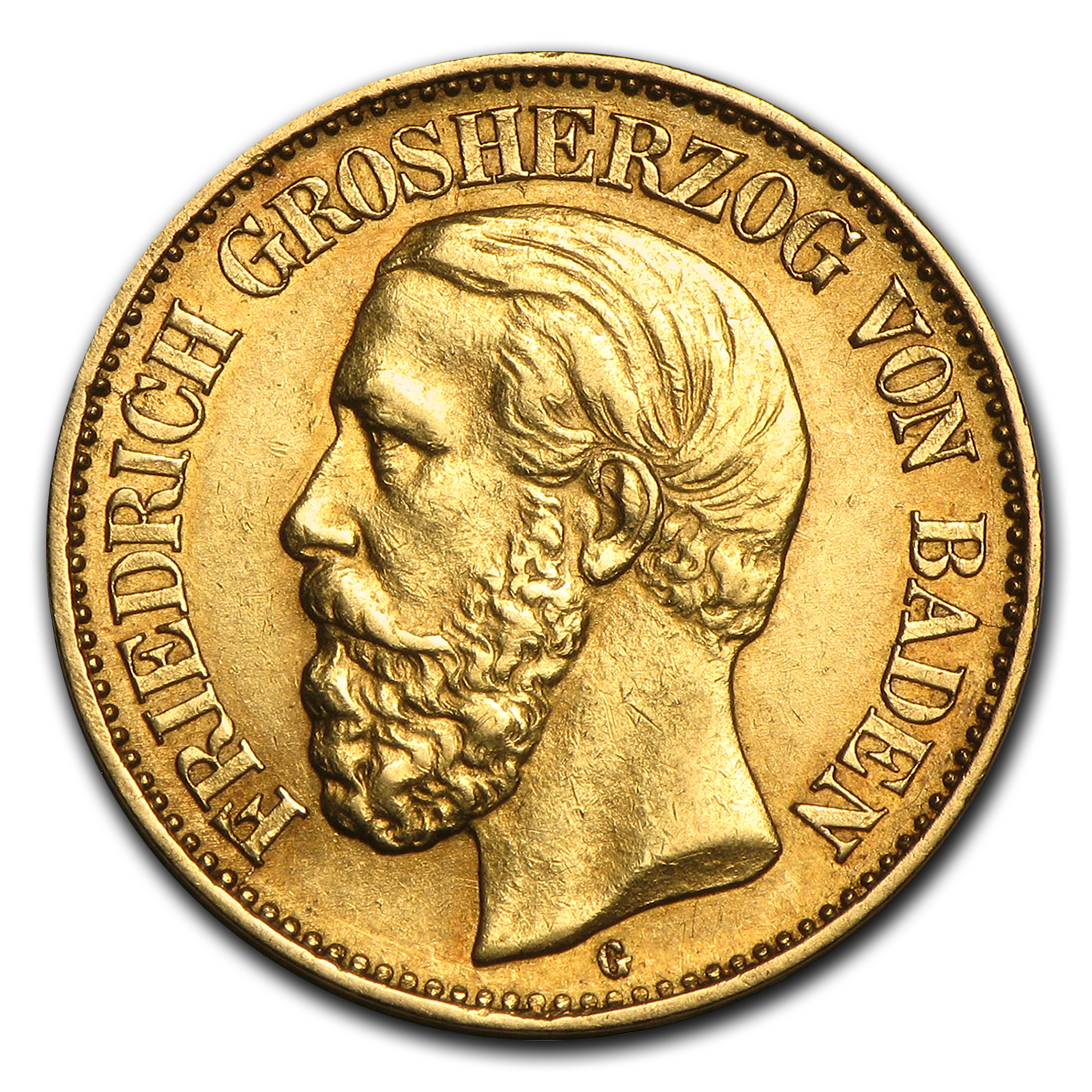1875-1888 Germany Gold 10 Marks Baden Friedrich I Avg Circ