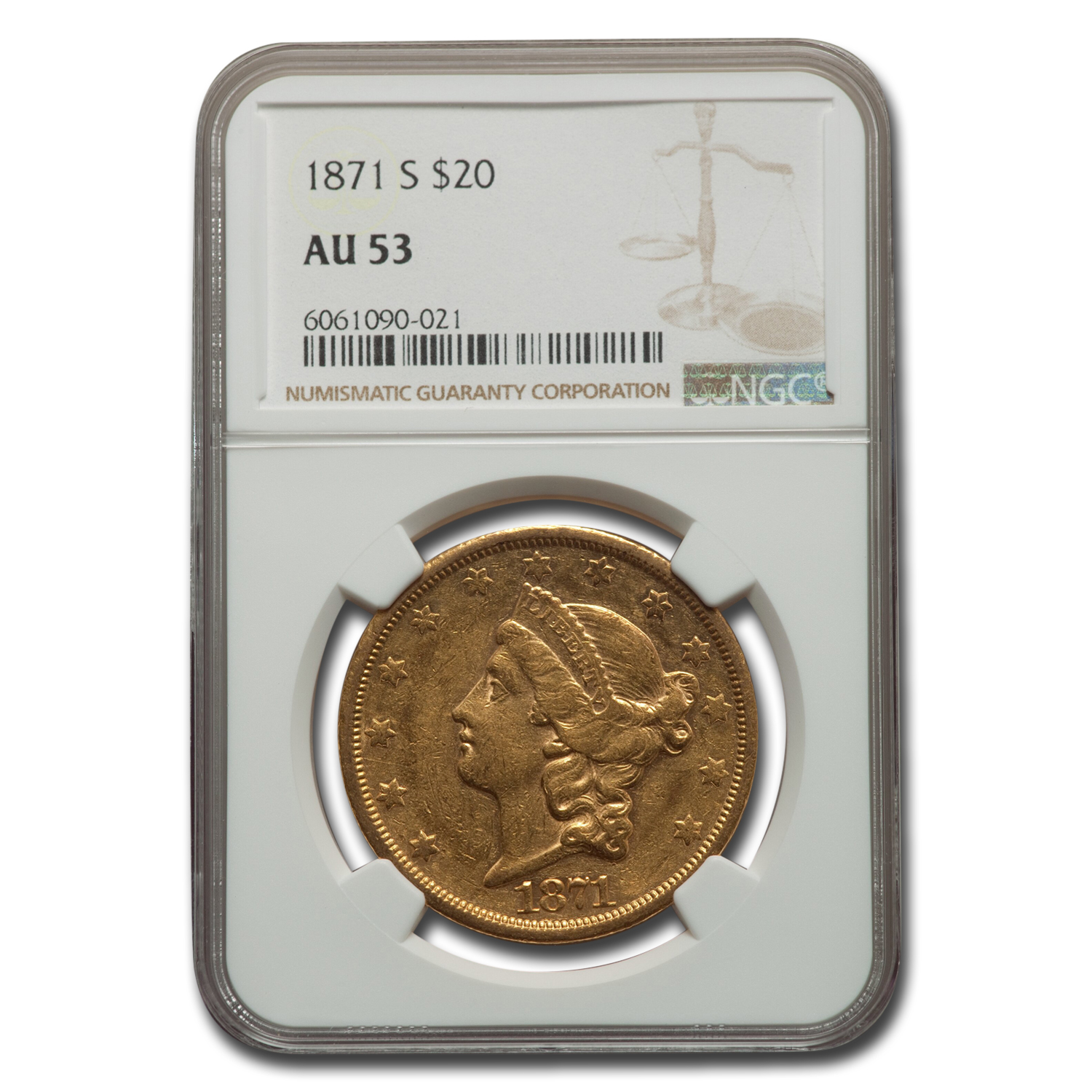 1871-S $20 Liberty Gold Double Eagle AU-53 NGC