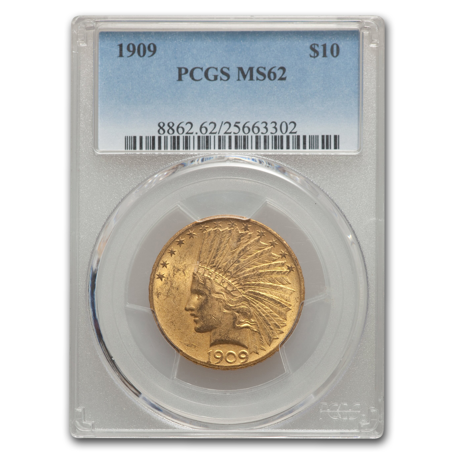 1909 $10 Indian Gold Eagle MS-62 PCGS