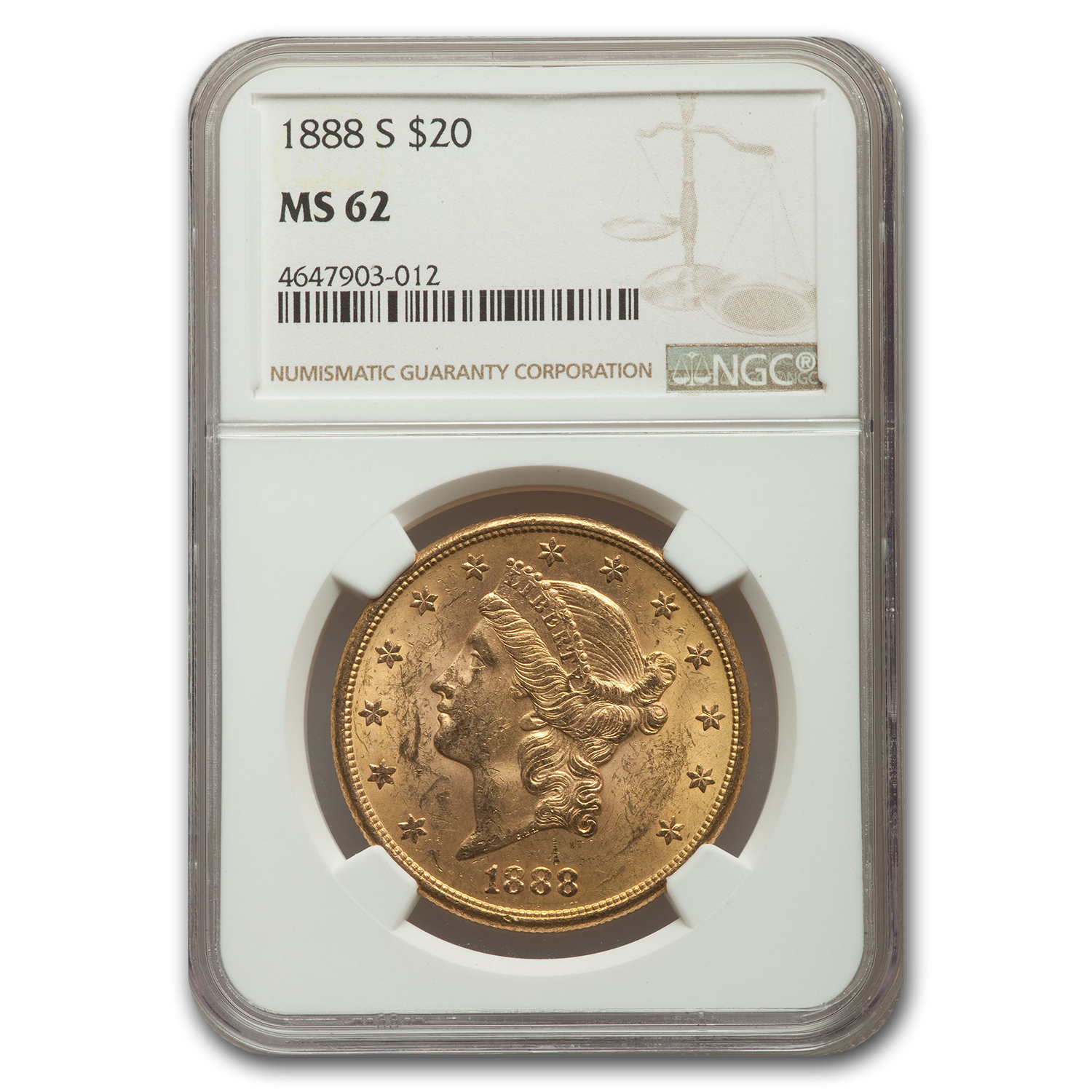 1888-S $20 Liberty Gold Double Eagle MS-62 NGC