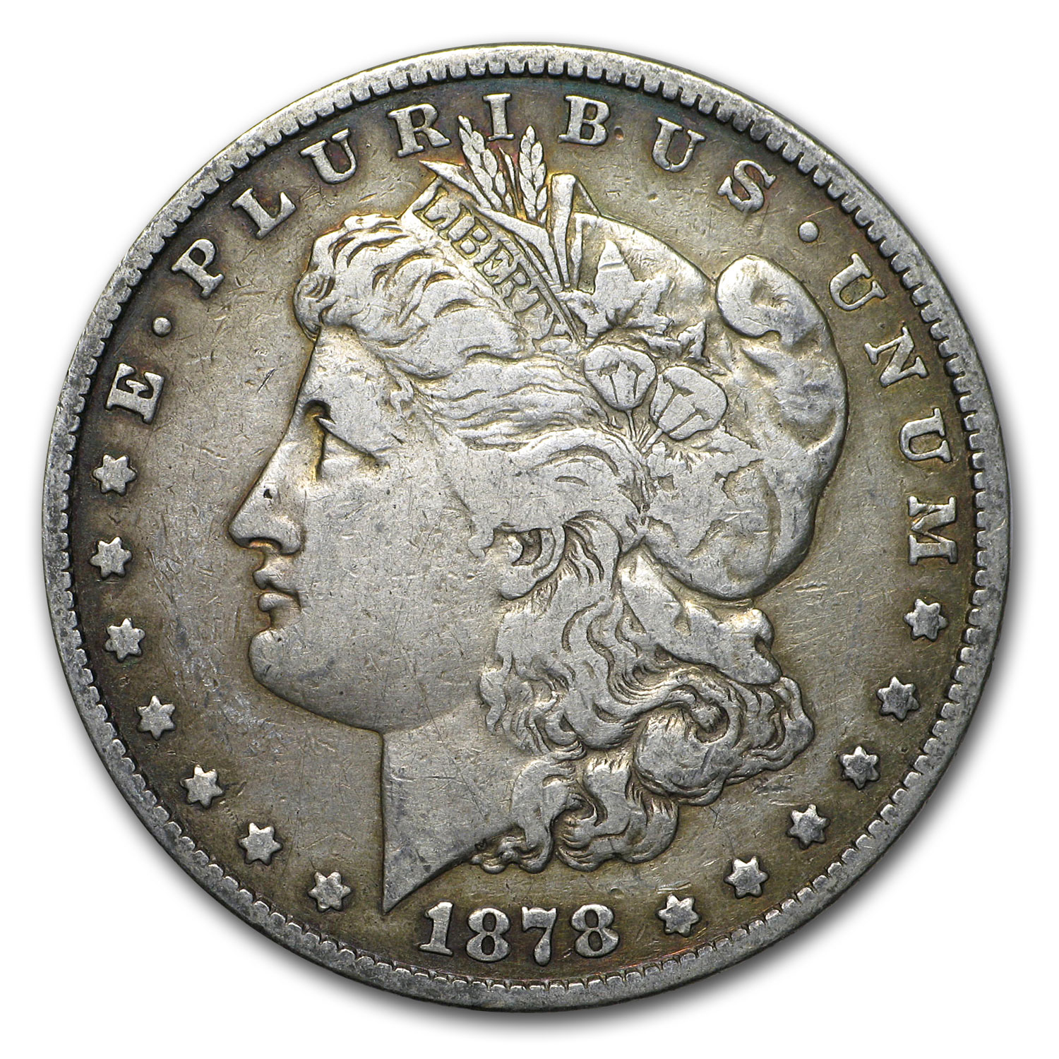 1878 Morgan Silver Dollar 7 Tailfeathers Rev of 78 VG/XF