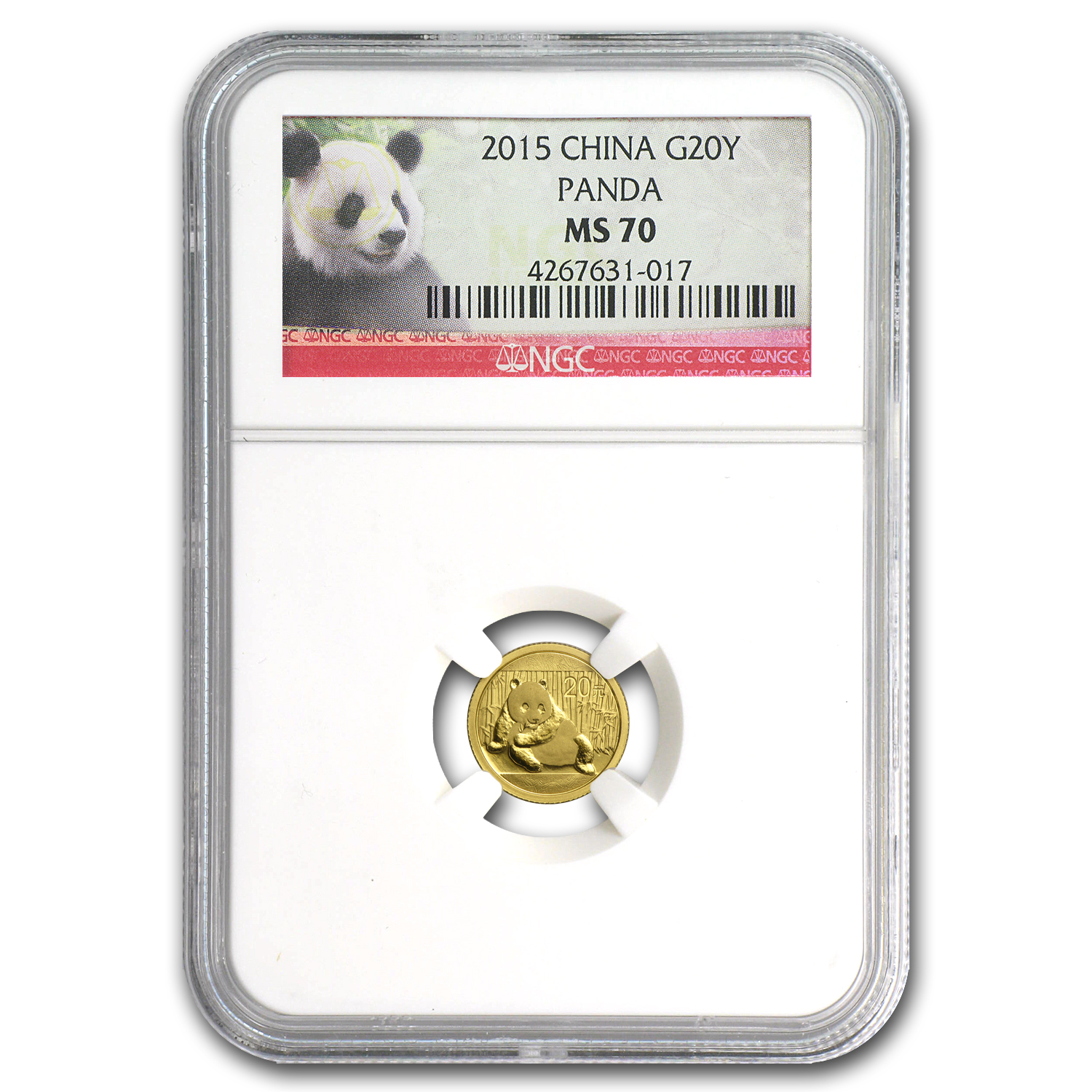 2015 China 1/20 oz Gold Panda MS-70 NGC